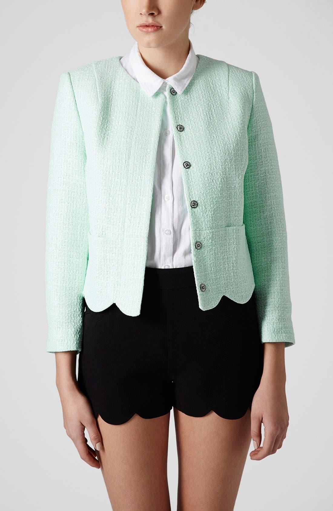 Main Image - Topshop 'Betty' Scalloped Coated Bouclé Jacket