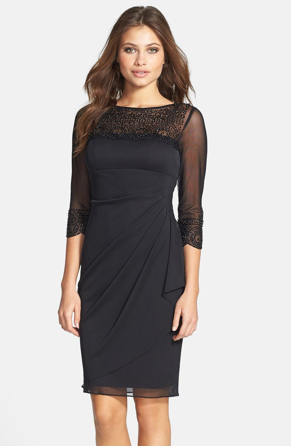 Main Image - Xscape Embellished Side Pleat Mesh Dress