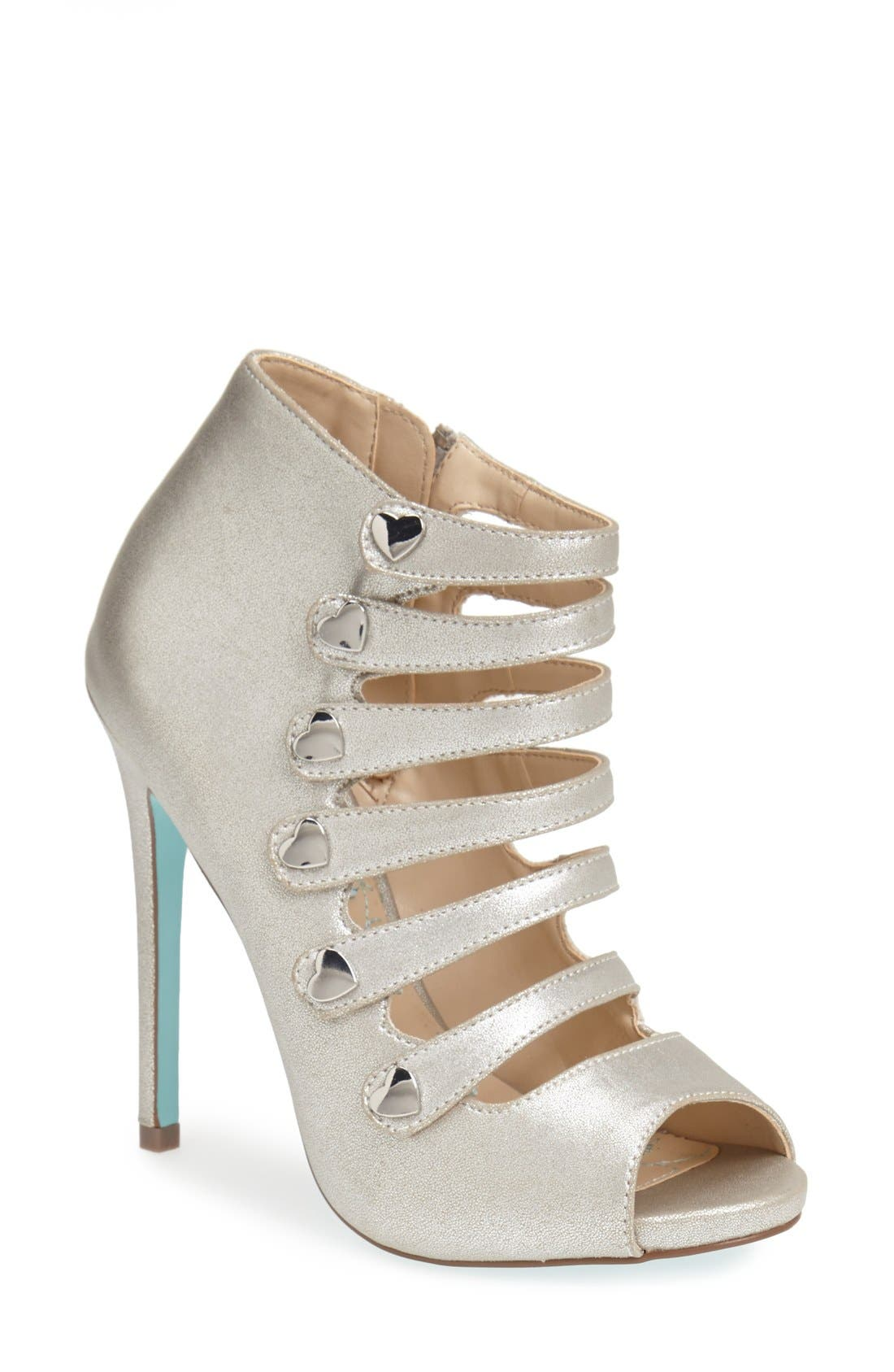 Alternate Image 1 Selected - Blue by Betsey Johnson 'Heart' Strappy Sandal (Women)