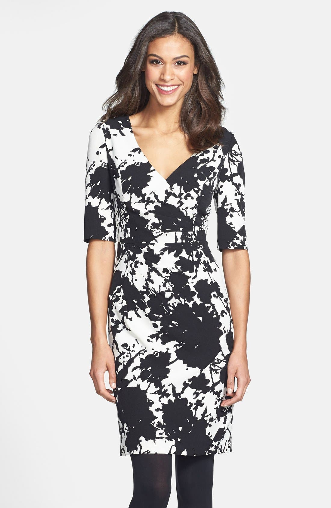 Main Image - Adrianna Papell Floral Print Crepe Sheath Dress (Online Only)