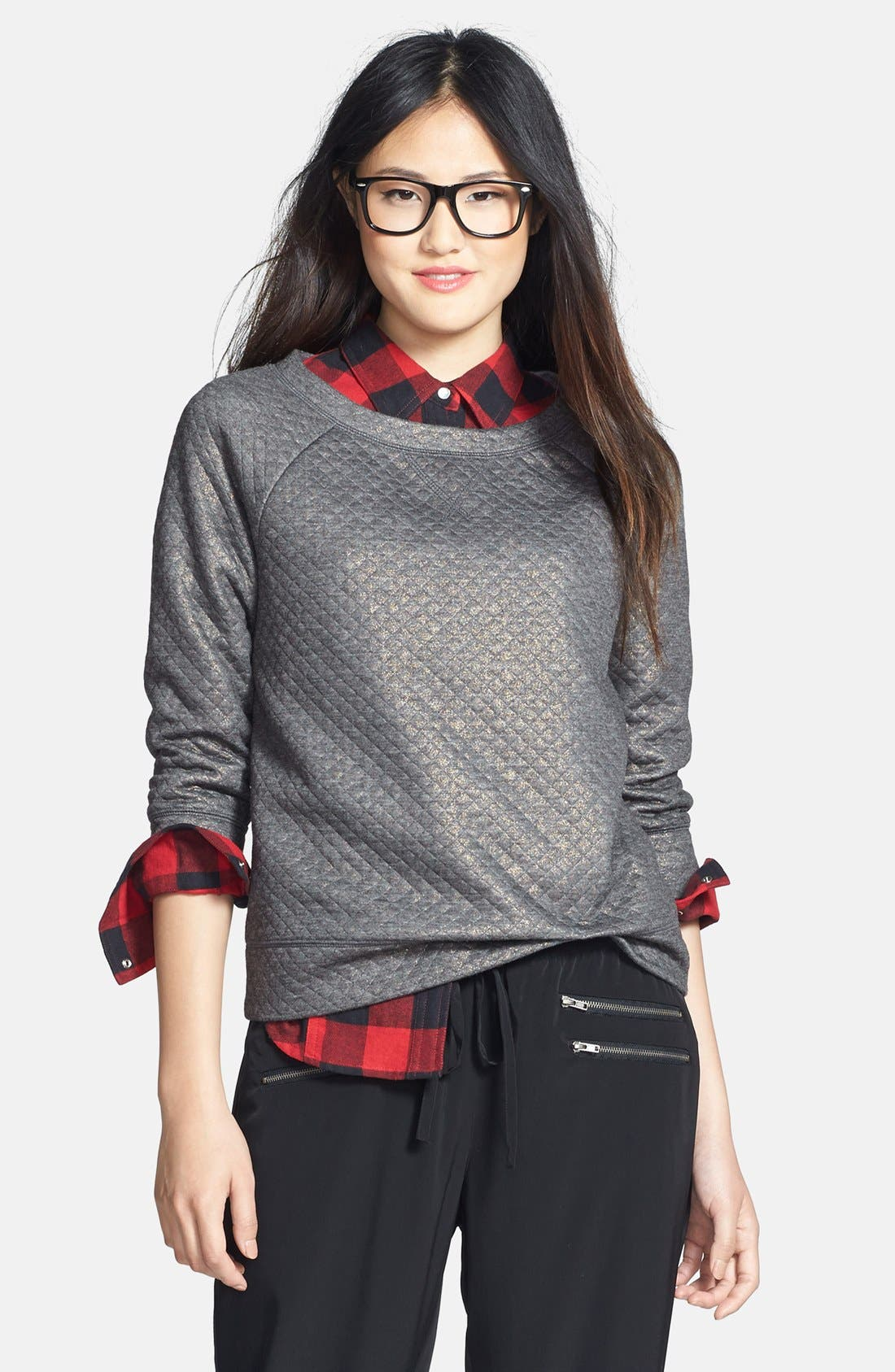 Alternate Image 1 Selected - Halogen® Foiled Sweatshirt (Petite)