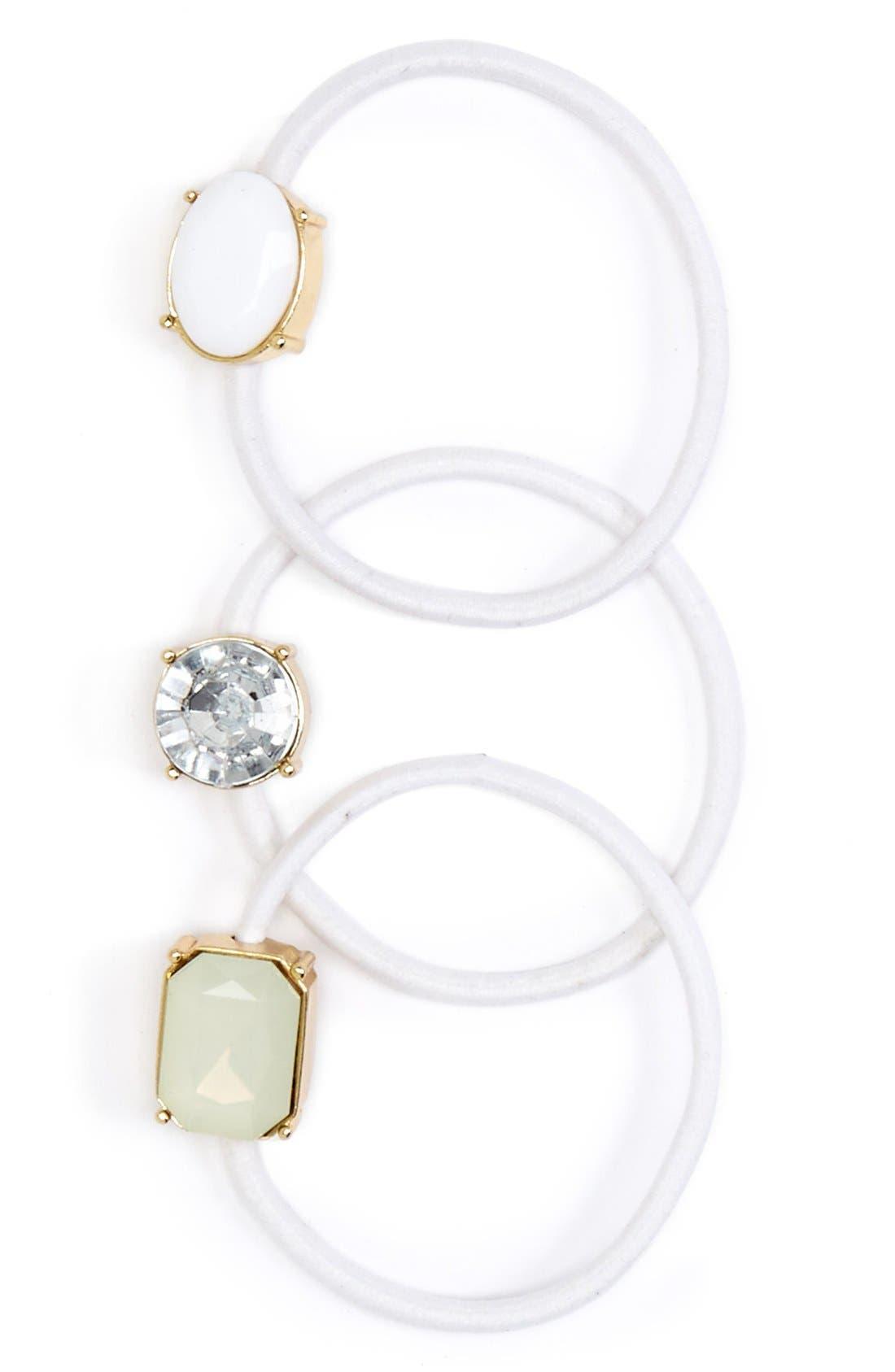 Alternate Image 1 Selected - Cara 'Bejeweled' Ponytail Holders (Set of 3)