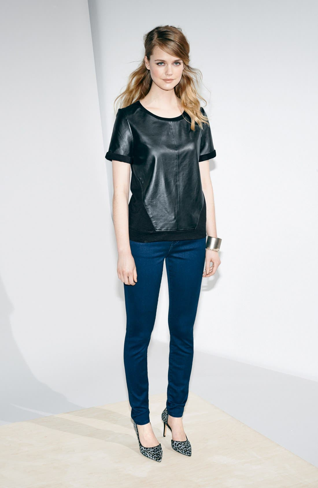 Alternate Image 5  - Halogen® Leather & Knit Mixed Media Top (Regular & Petite)