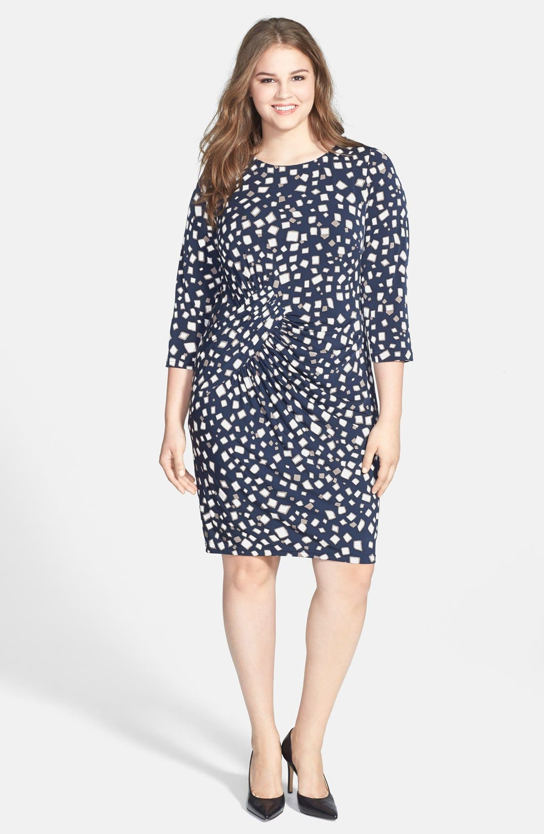 Alternate Image 1 Selected - Adrianna Papell Drape Detail Sheath Dress (Plus Size)
