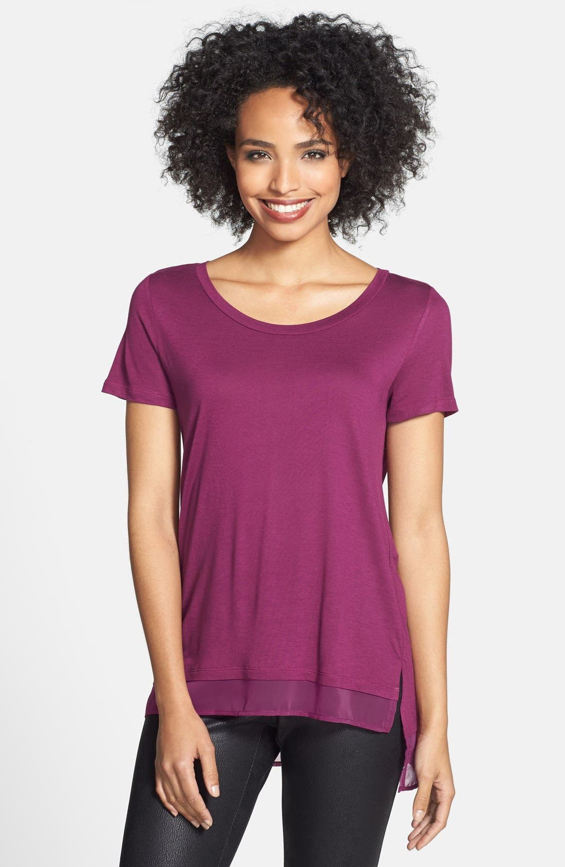 Alternate Image 1 Selected - Caslon® Chiffon Trim High/Low Tee