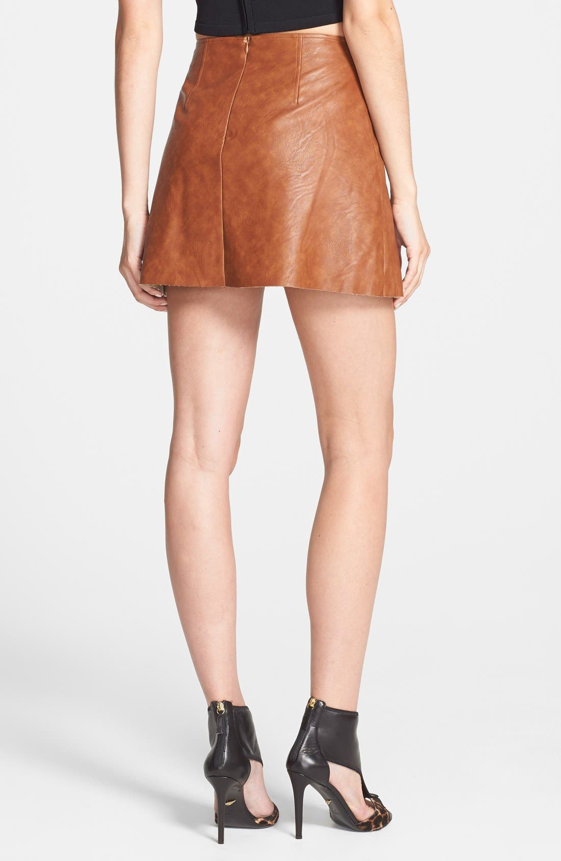 Alternate Image 2  - ASTR Faux Leather Pleat Front Skirt