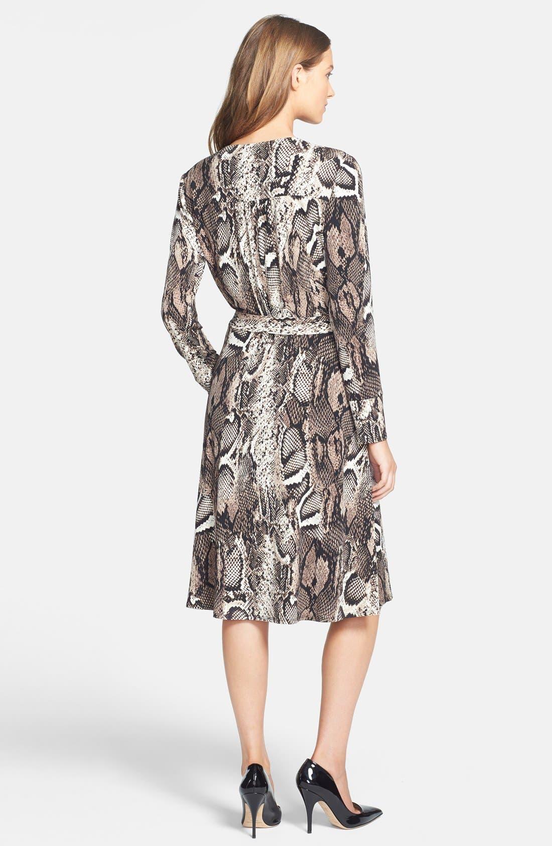 Alternate Image 2  - Donna Morgan Snakeskin Print Faux Wrap Jersey Dress