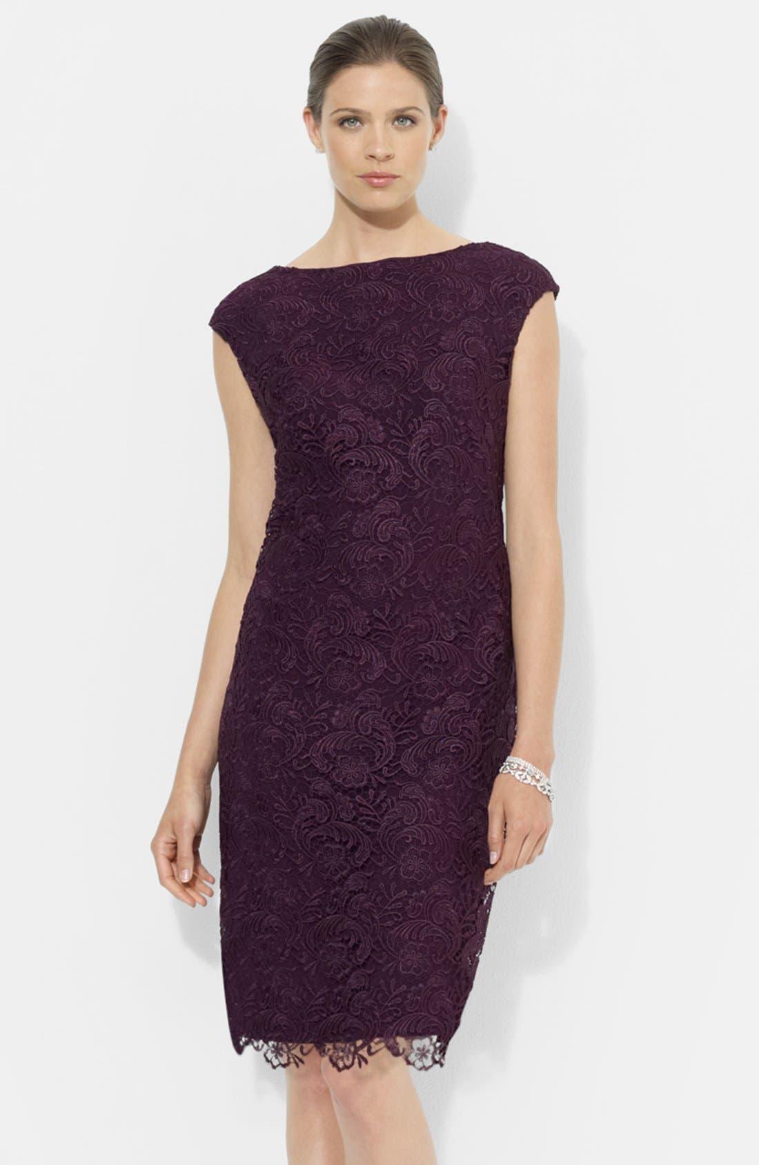Alternate Image 1 Selected - Lauren Ralph Lauren Lace Sheath Dress (Petite)