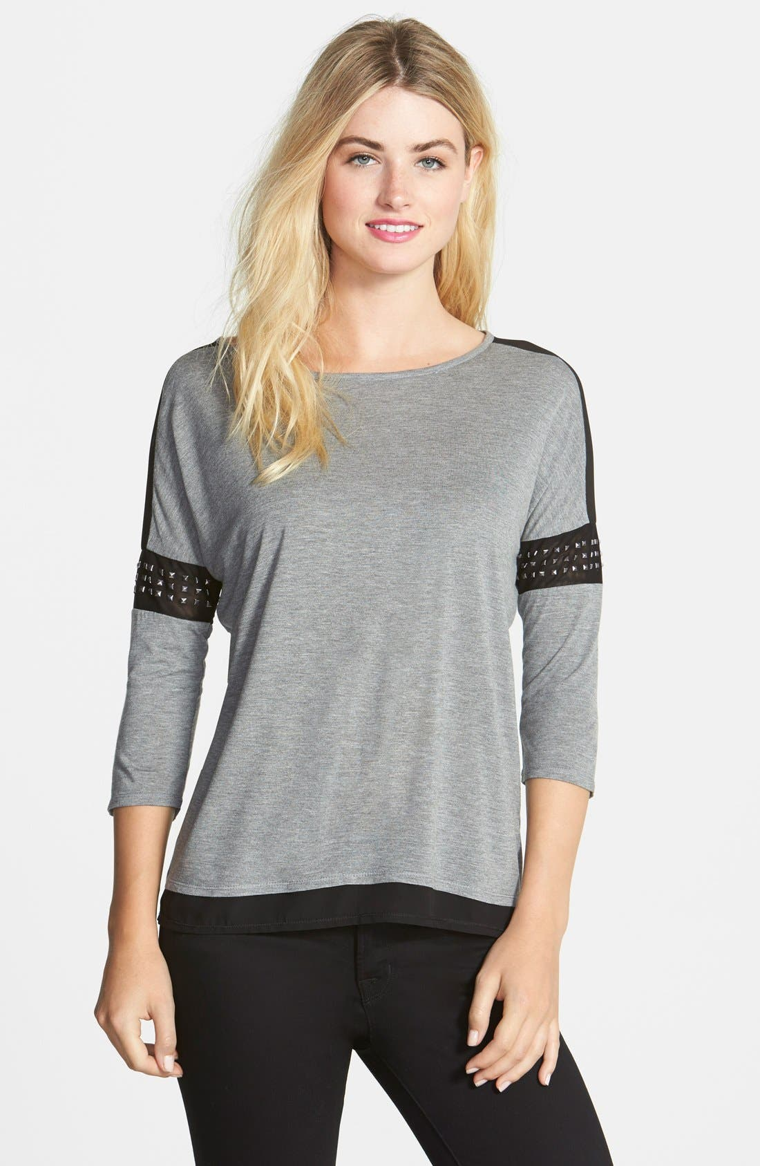 Main Image - Two by Vince Camuto Studded Sleeve Chiffon Inset  Top