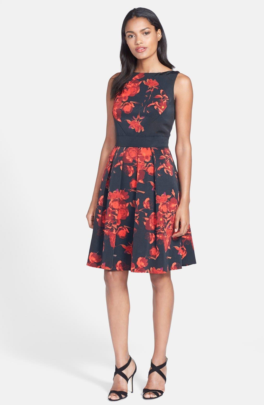 Alternate Image 3  - Taylor Dresses Floral Print Fit & Flare Dress (Regular & Petite)