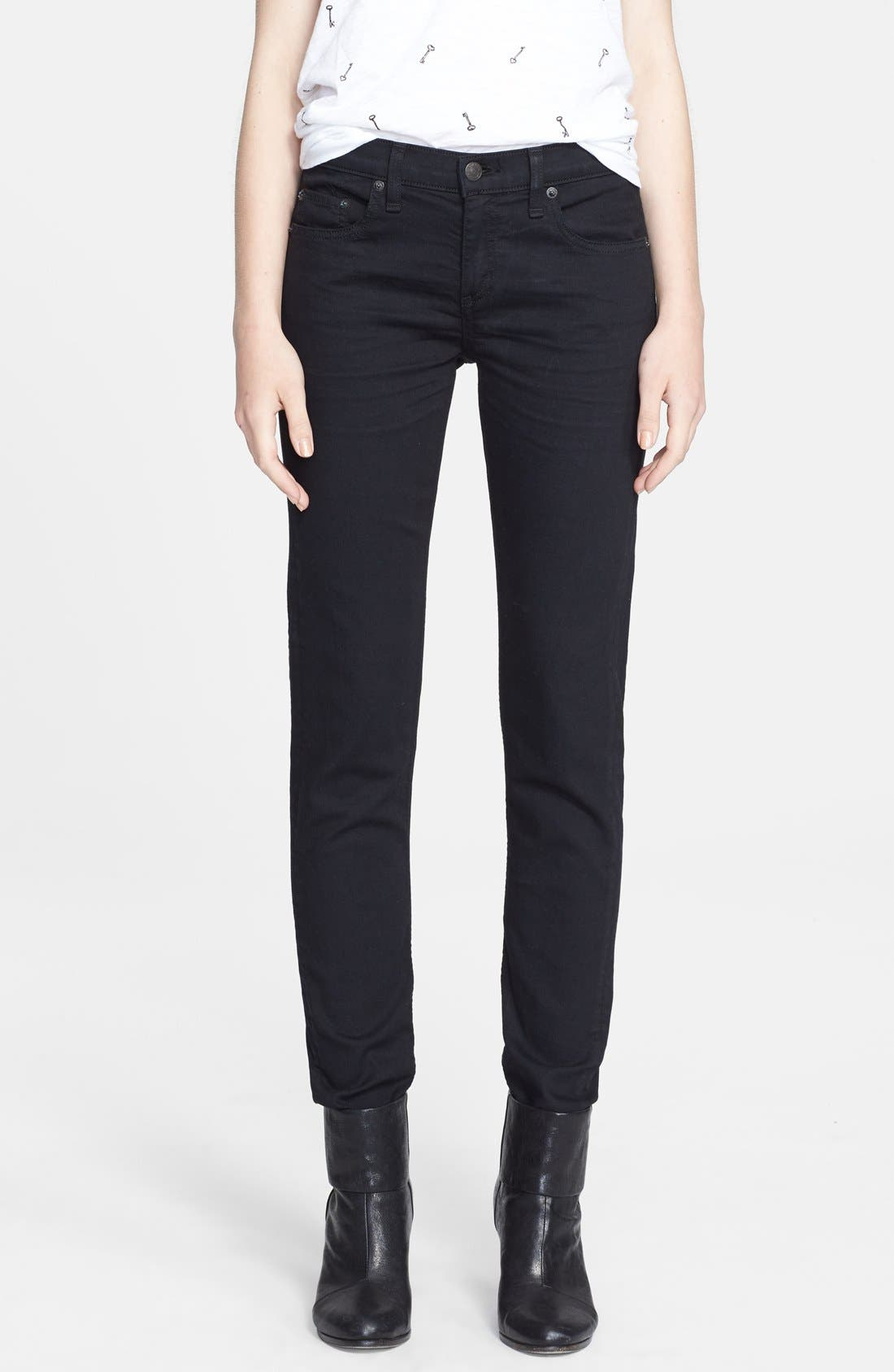 Alternate Image 1 Selected - rag & bone/JEAN 'The Dre' Skinny Jeans (Aged Black)