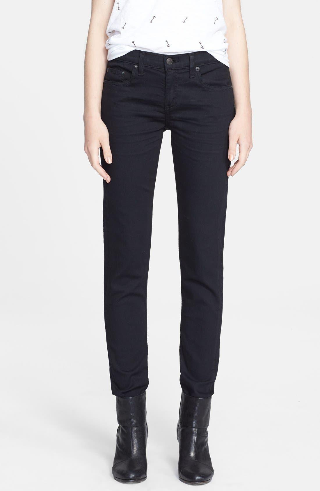 Alternate Image 1 Selected - rag & bone/JEAN 'The Dre' Skinny Jeans (Aged Black)