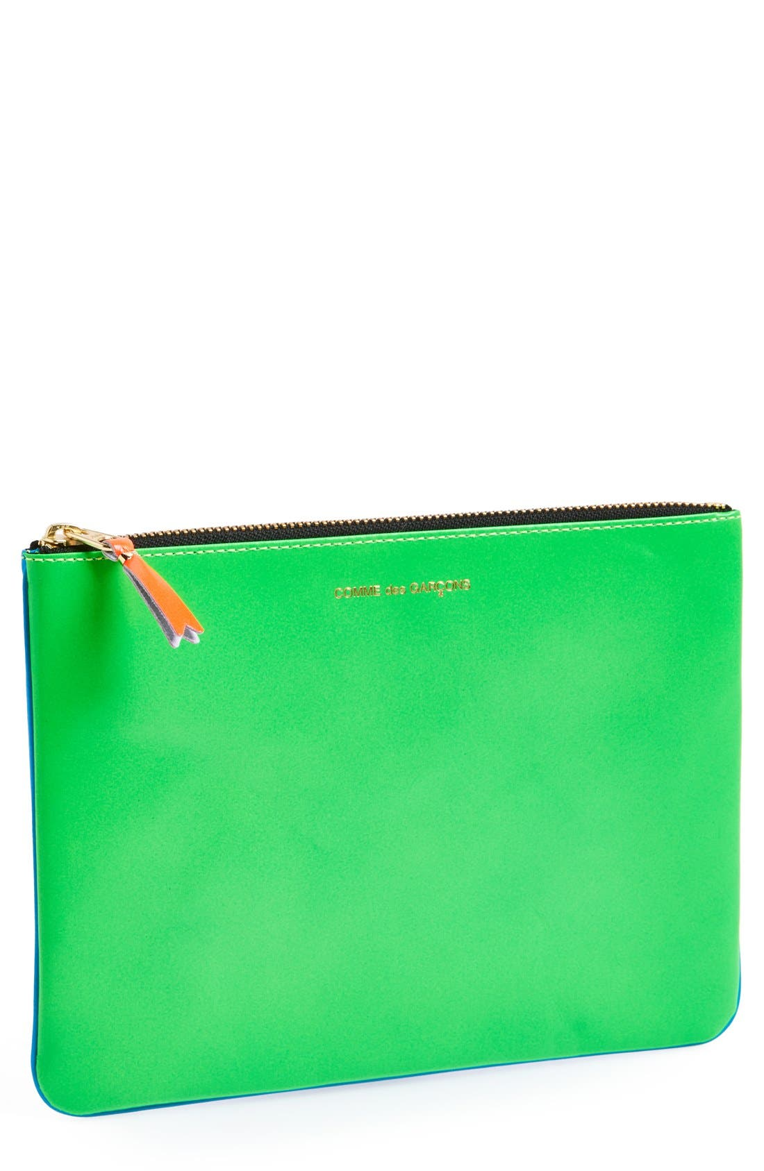 Comme des Garçons 'Super Fluo' Colorblock Leather Zip-Up Pouch
