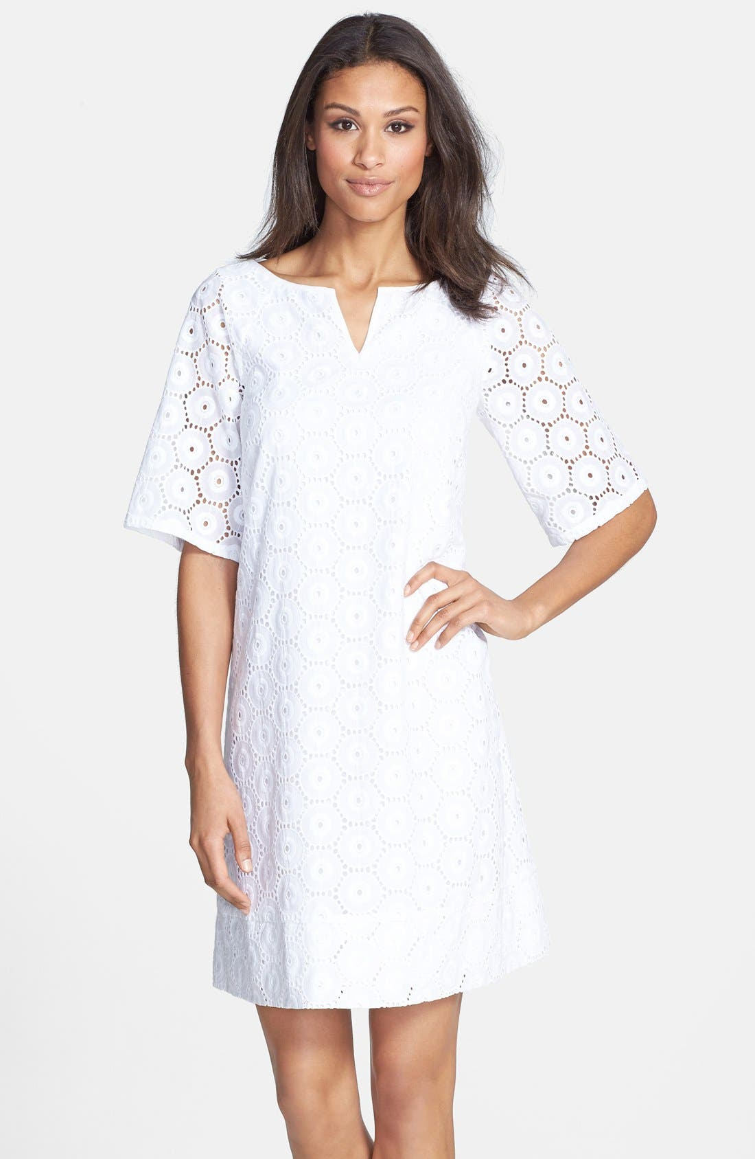 Main Image - Adrianna Papell Eyelet Shift Dress