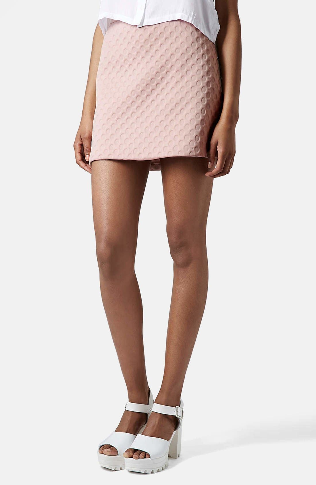 Alternate Image 1 Selected - Topshop 'Foam Spot' Embossed Miniskirt