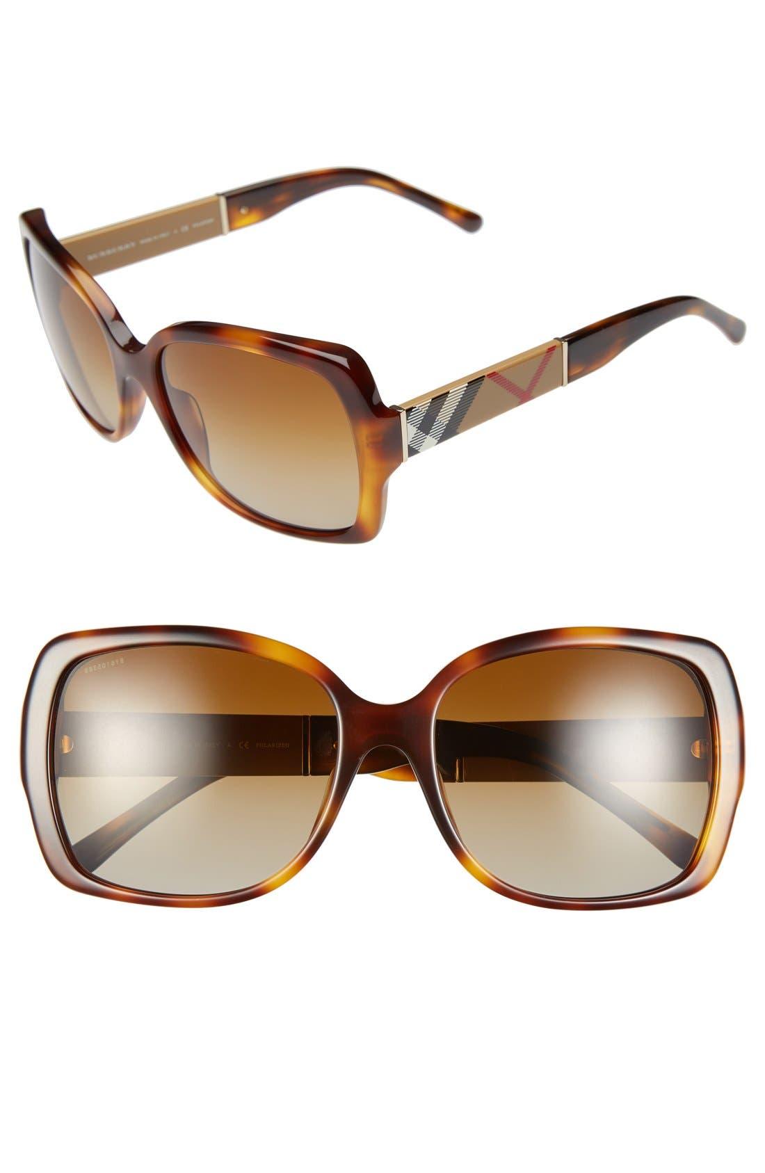 Main Image - Burberry 58mm Polarized Sunglasses