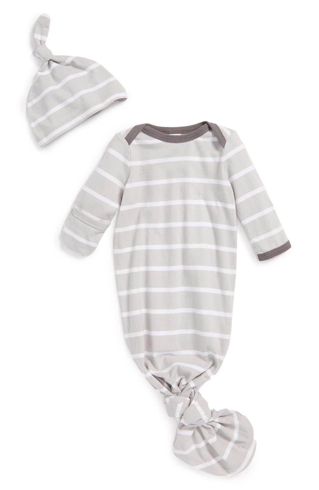Main Image - Nordstrom Cotton Baby Gown & Hat (Baby Girls)