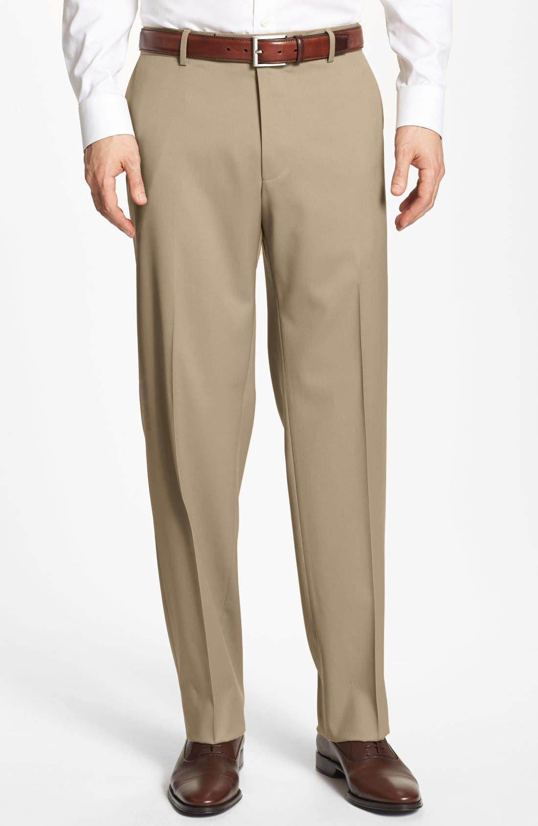 Alternate Image 1 Selected - BOSS 'Jeffrey US' Flat Front Wool Trousers