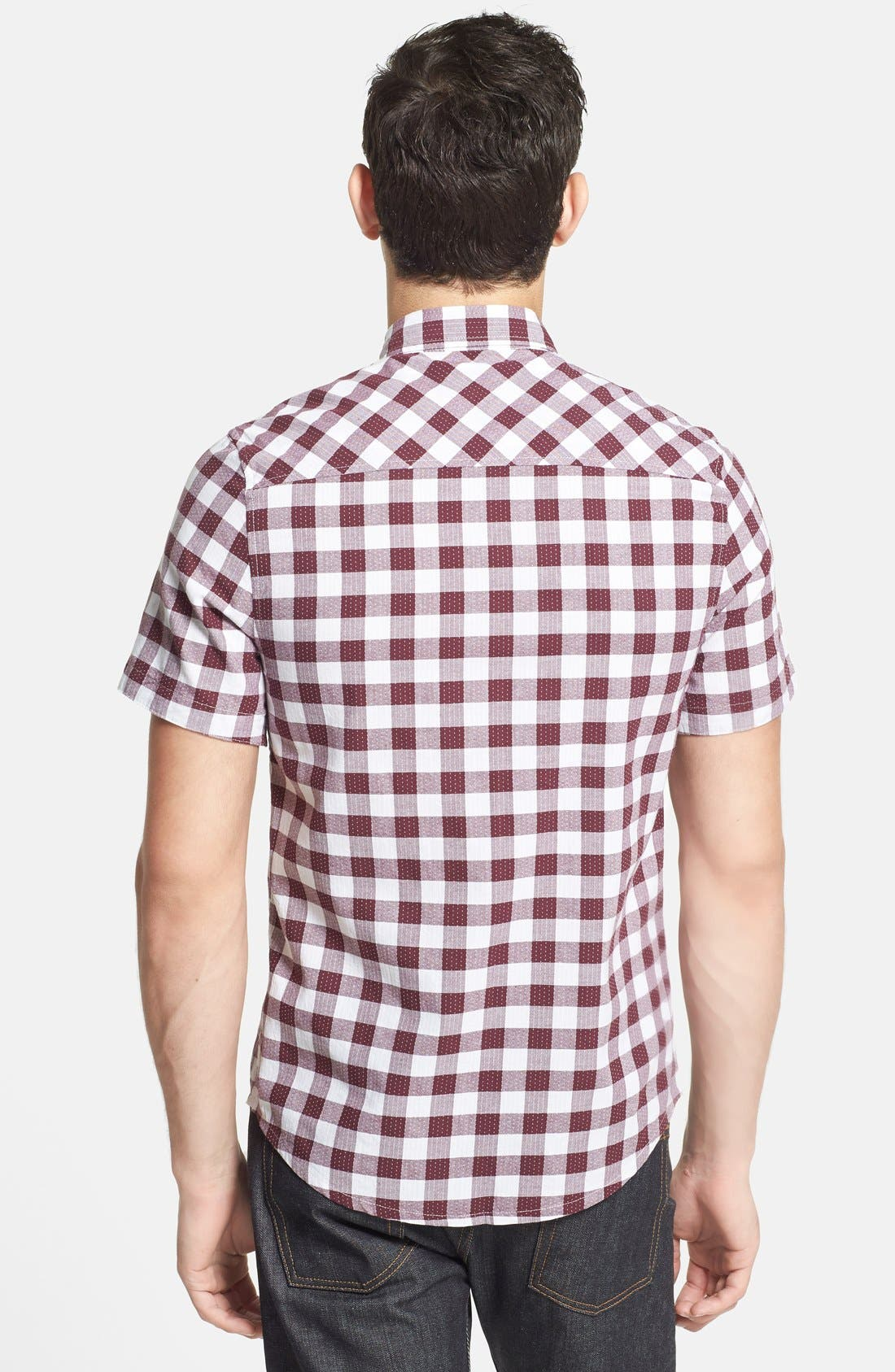 Alternate Image 2  - Topman Classic Fit Short Sleeve Check Shirt