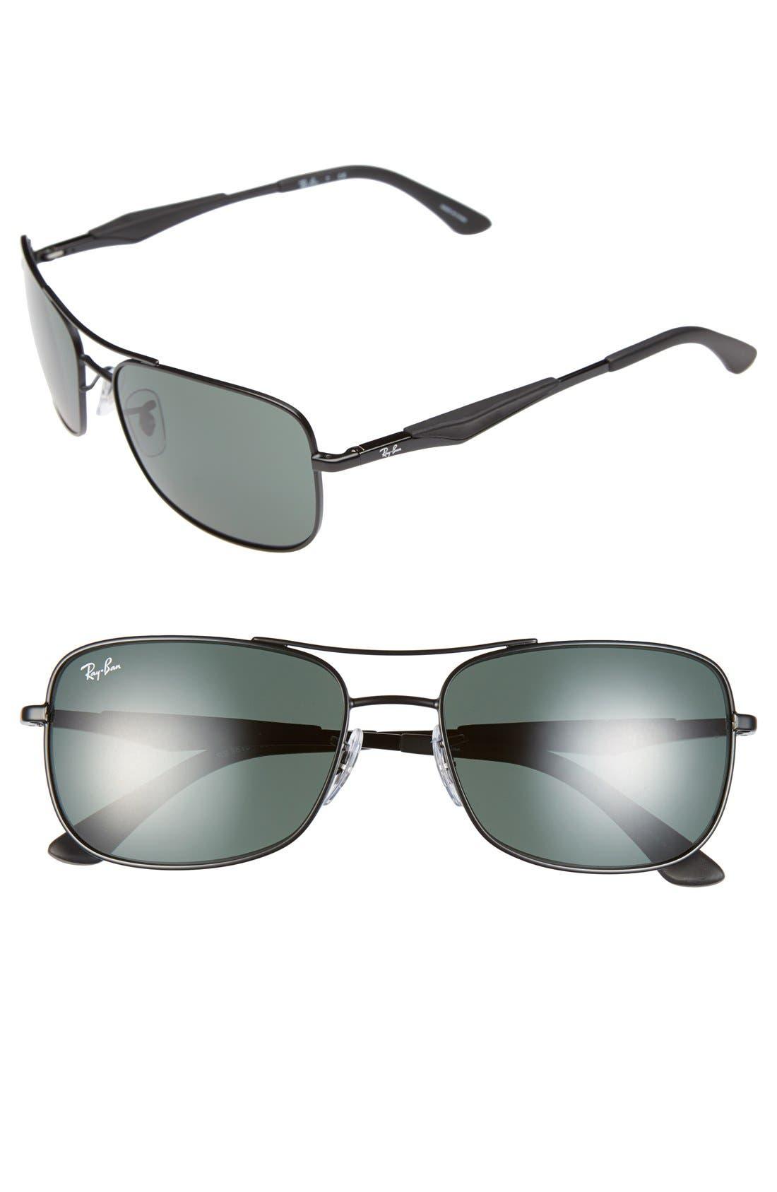 Alternate Image 1 Selected - Ray-Ban 58mm Steel Aviator Sunglasses