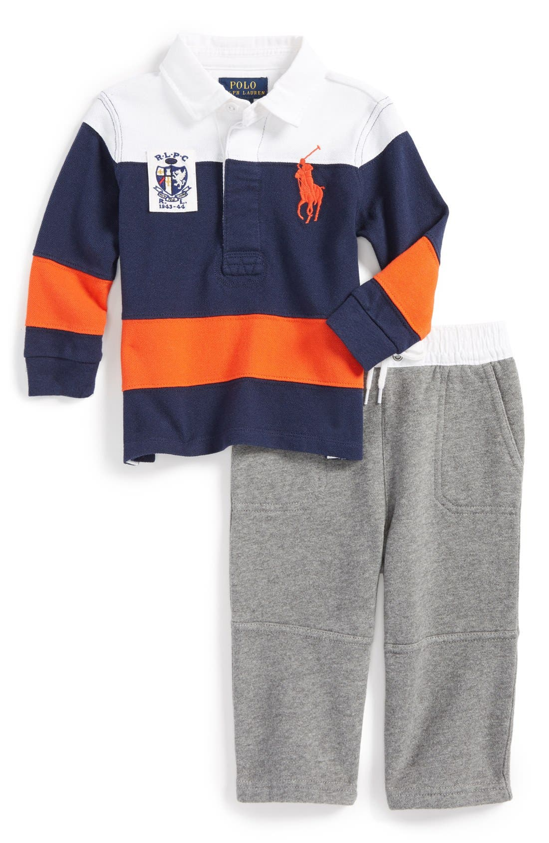 Alternate Image 1 Selected - Ralph Lauren Rugby Stripe Polo and Pants (Baby Boys)