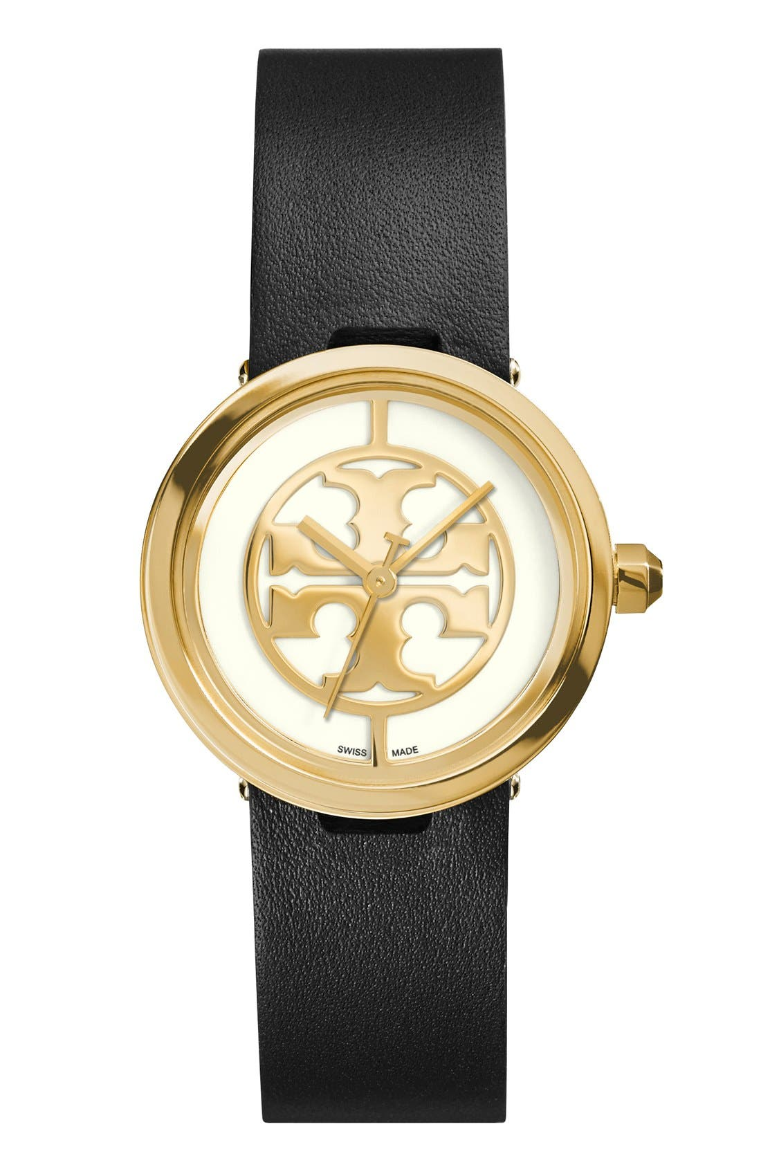 Alternate Image 1 Selected - Tory Burch 'Reva' Logo Dial Leather Strap Watch, 28mm