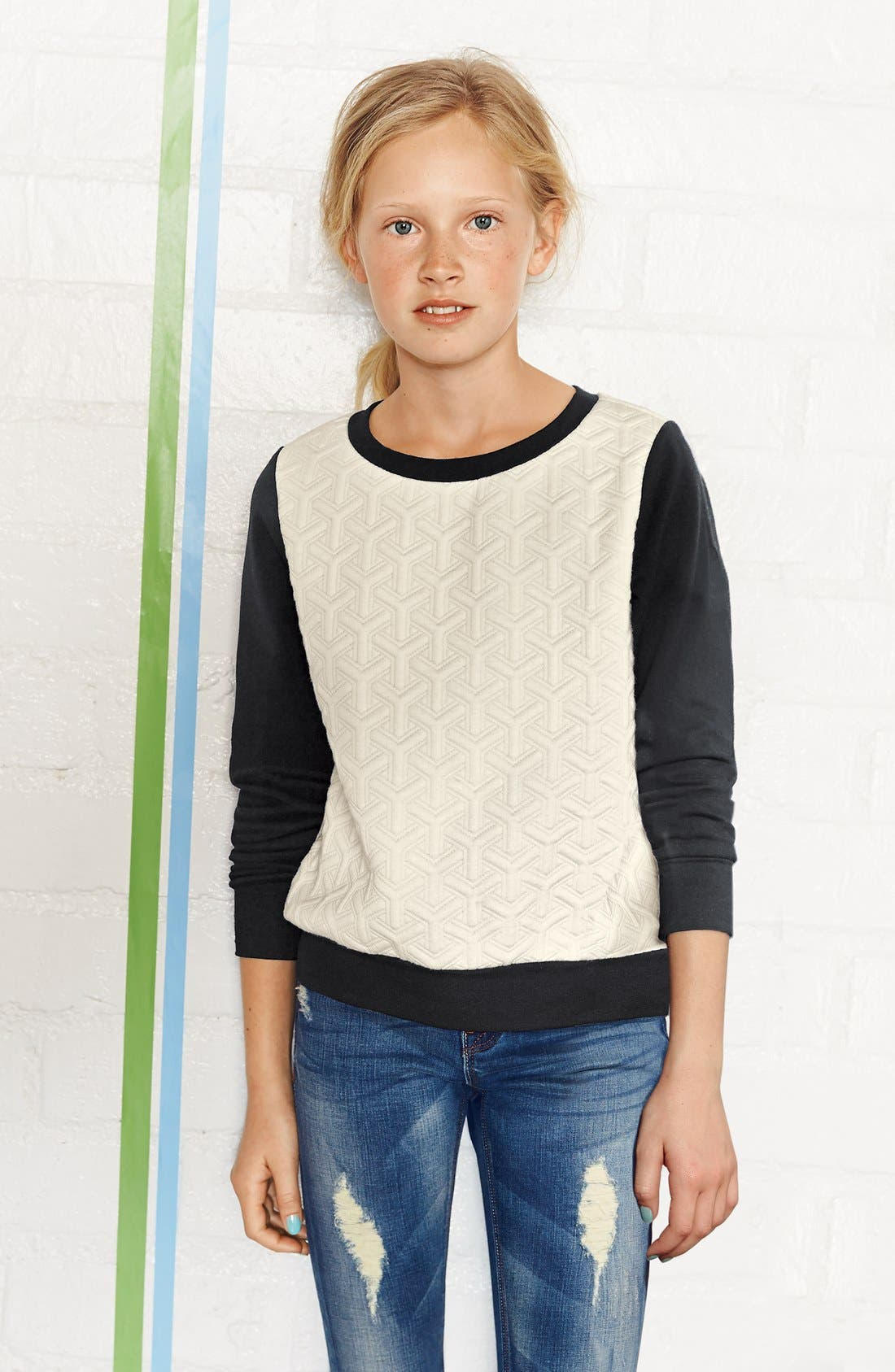 Alternate Image 2  - Soprano Quilted Sweater (Big Girls)