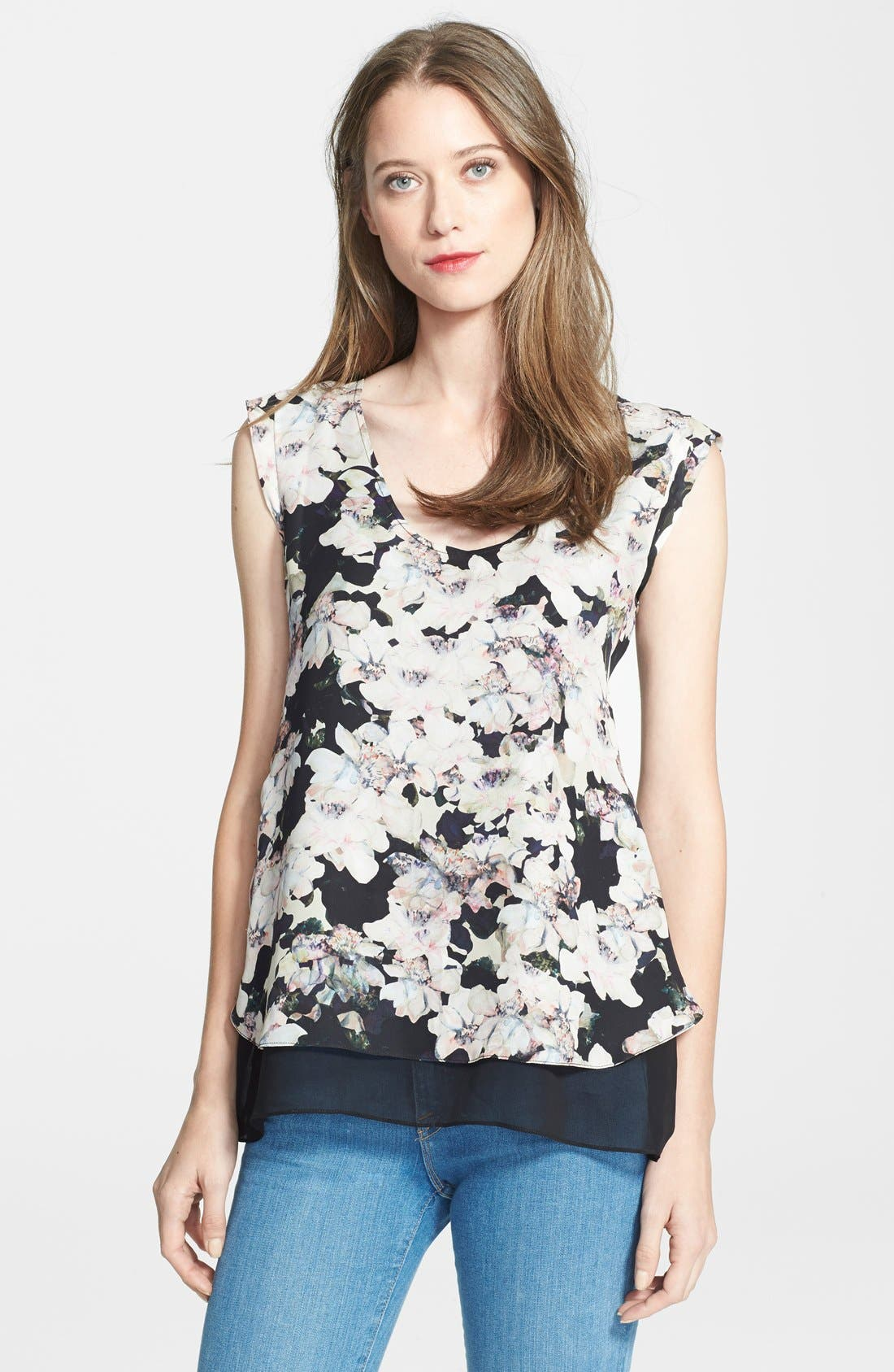 Alternate Image 1 Selected - Rebecca Taylor 'Frosted Flower' Print Silk Top