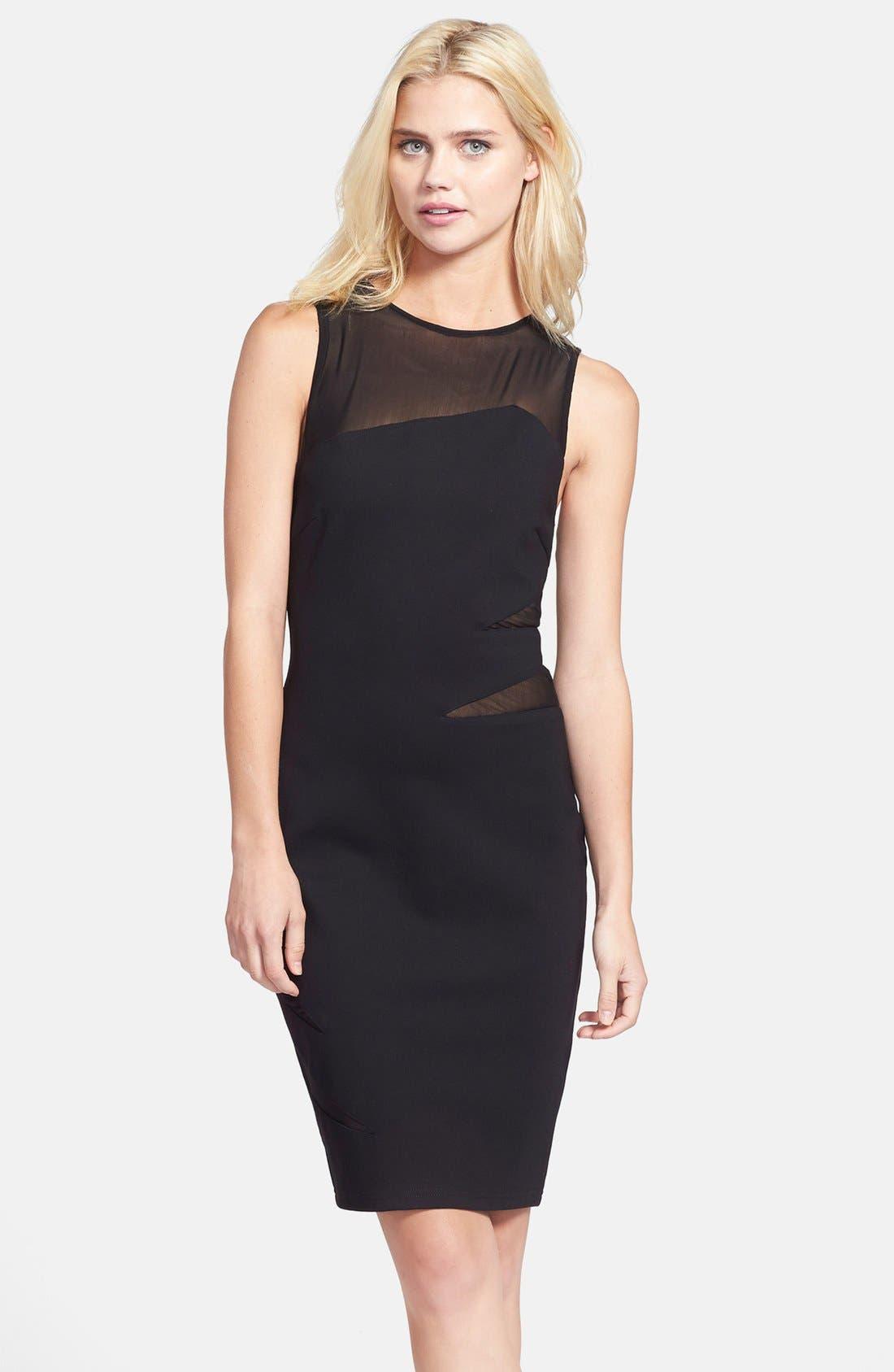 Main Image - Elliatt 'Secrets' Illusion Yoke Ponte Body-Con Dress