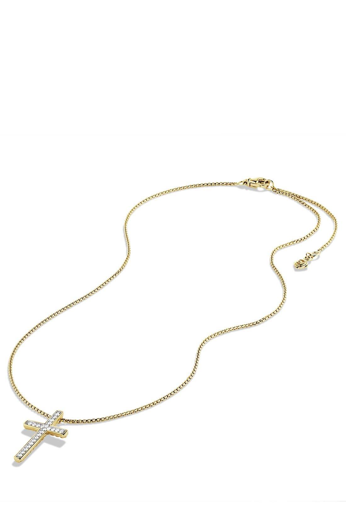Alternate Image 3  - David Yurman 'X' Petite Pavé Cross Necklace with Diamonds in Gold