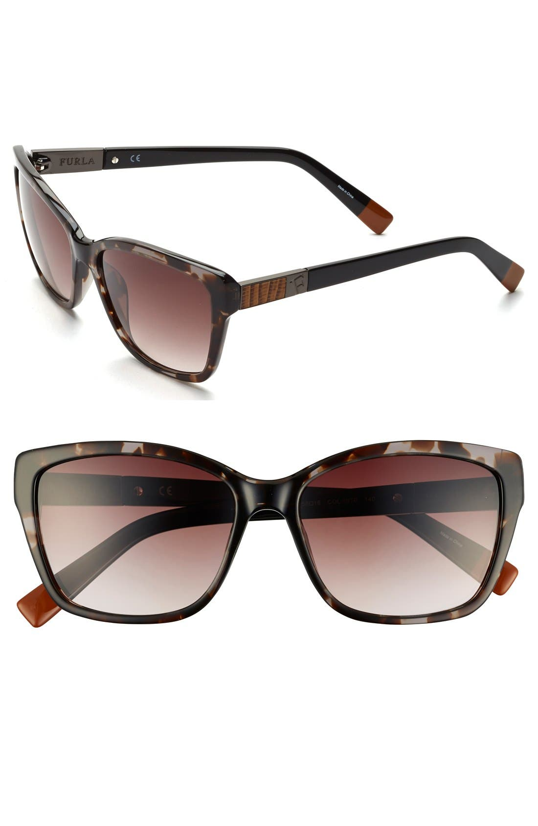 Alternate Image 1 Selected - Furla 56mm Leather Insert Sunglasses