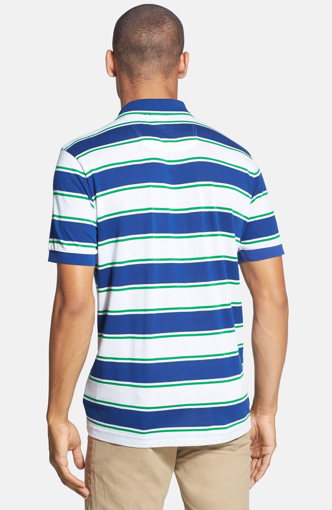 Alternate Image 2  - BOSS Green 'Paddy 1' Trim Fit Stripe Mesh Cotton Polo