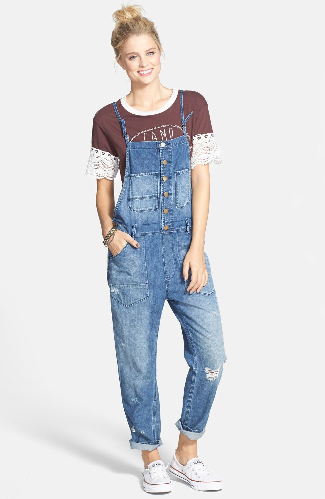Alternate Image 1 Selected - Billabong 'Over it All' Button Front Denim Overalls (Juniors)