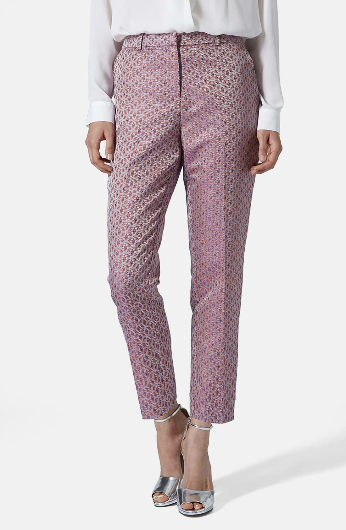 Alternate Image 1 Selected - Topshop Jacquard Cigarette Pants