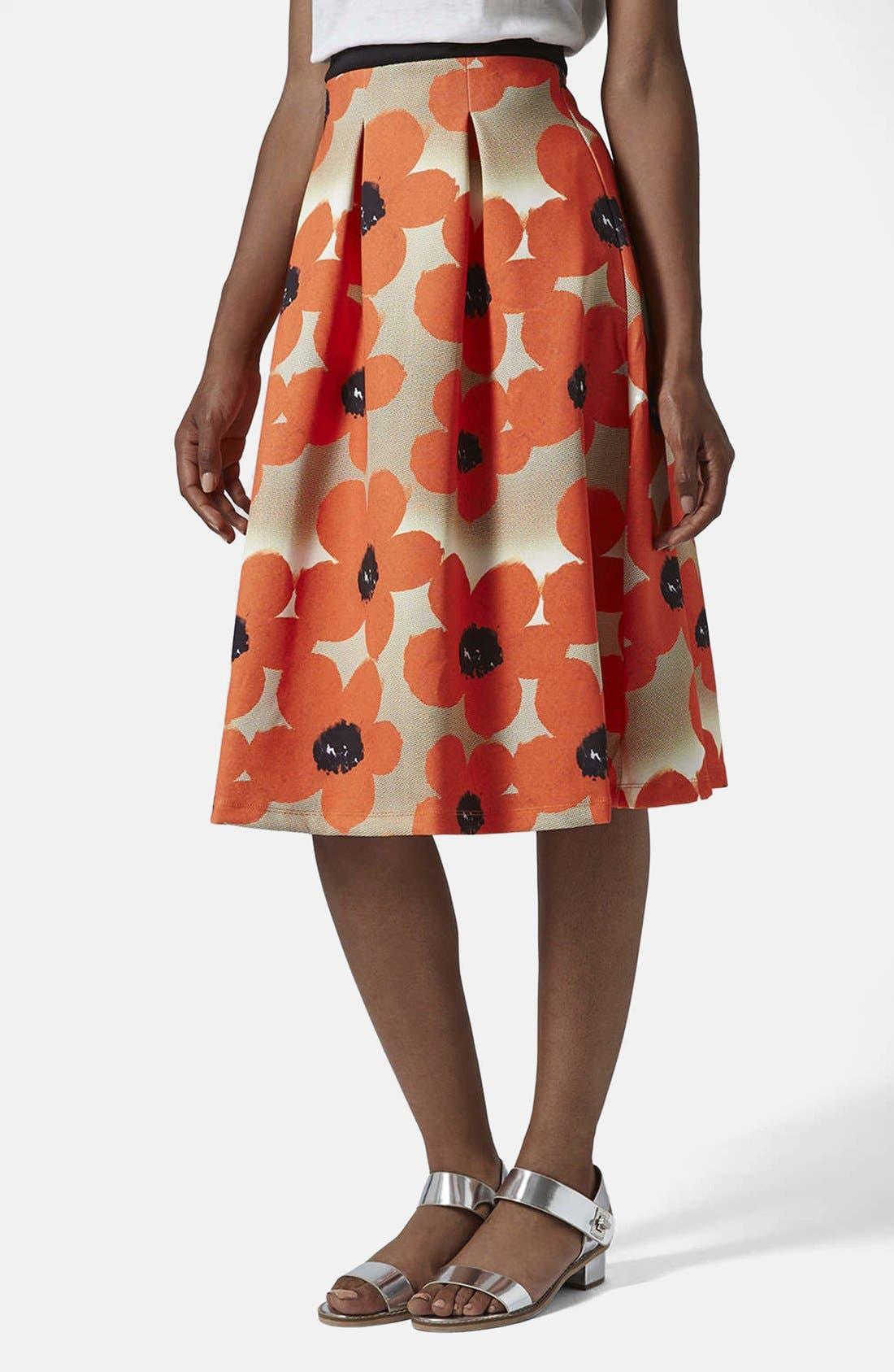 Main Image - Topshop 'Sunscratch' Floral Print Scuba Midi Skirt