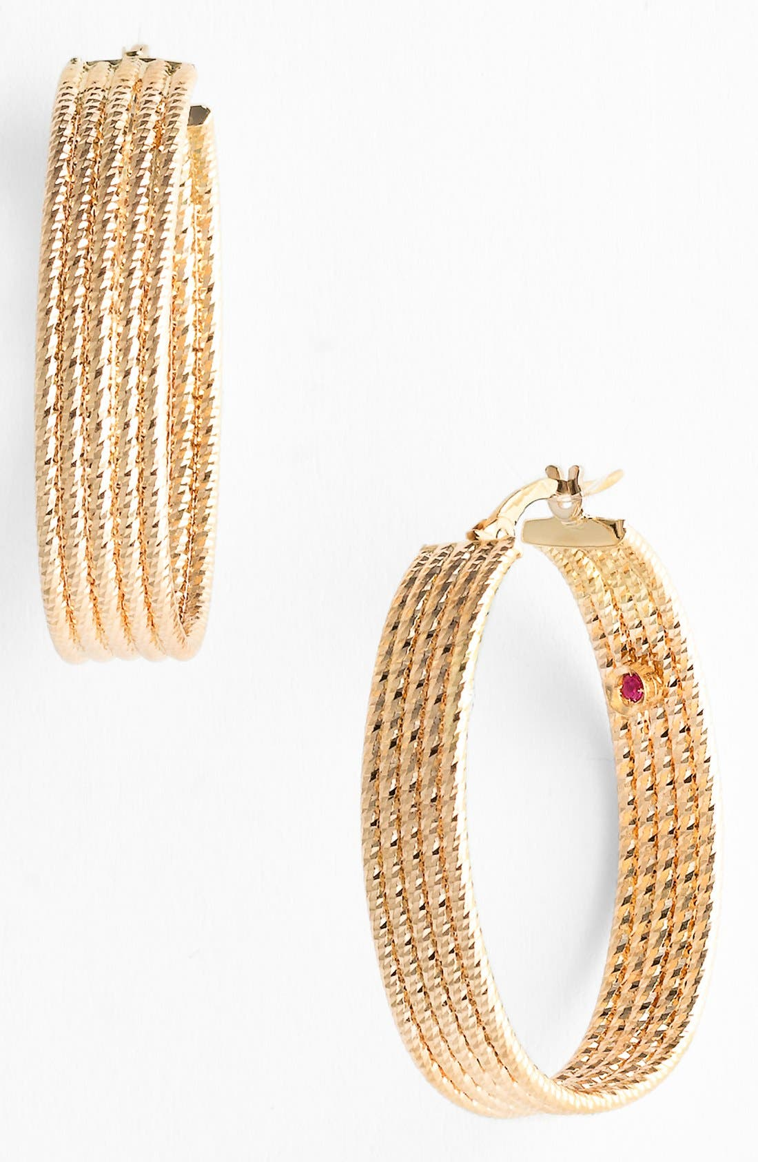 Main Image - Roberto Coin Wide Ribbed Gold Hoop Earrings