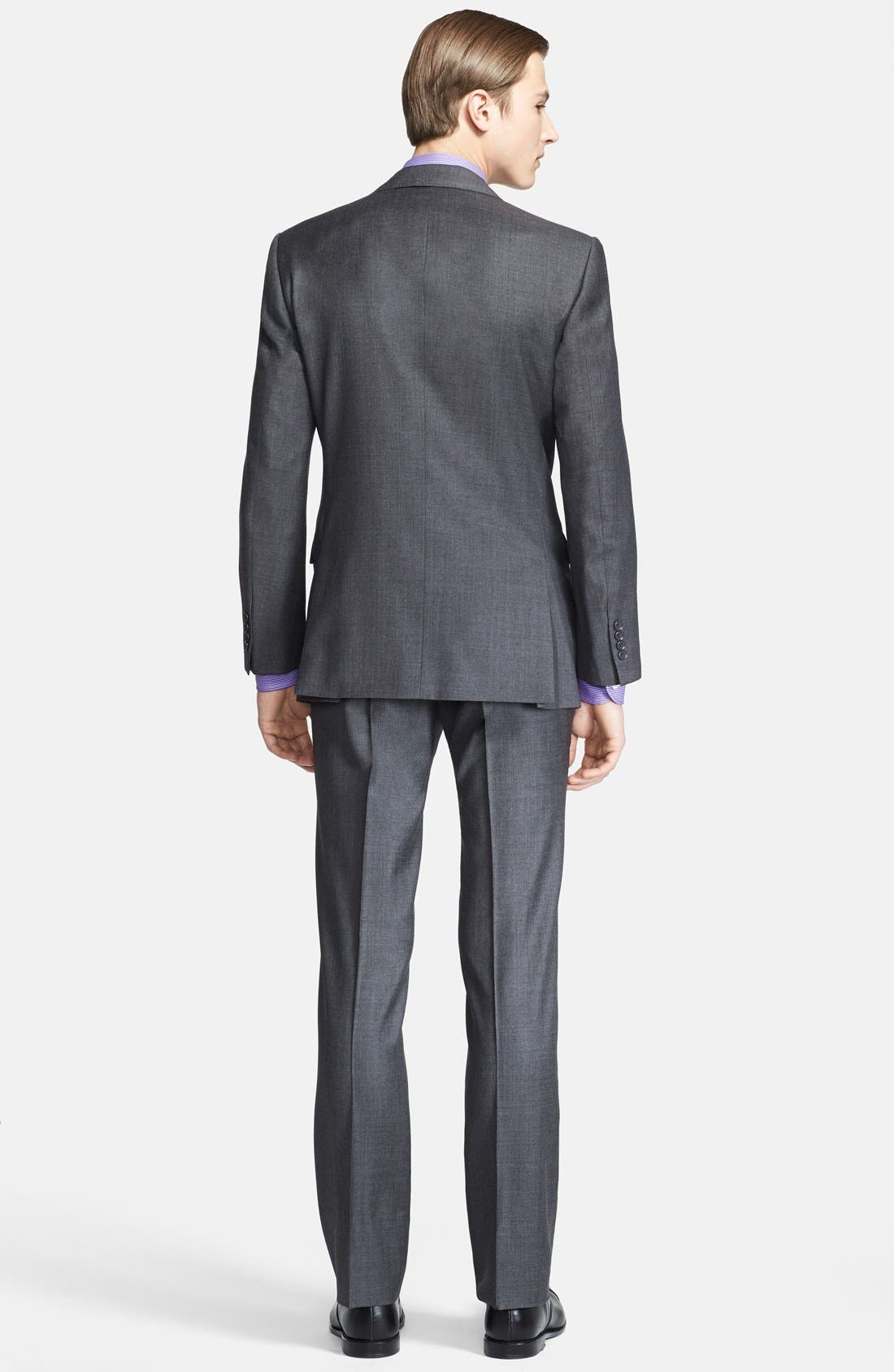 Alternate Image 2  - Ralph Lauren Black Label Trim Fit Grey Wool Suit