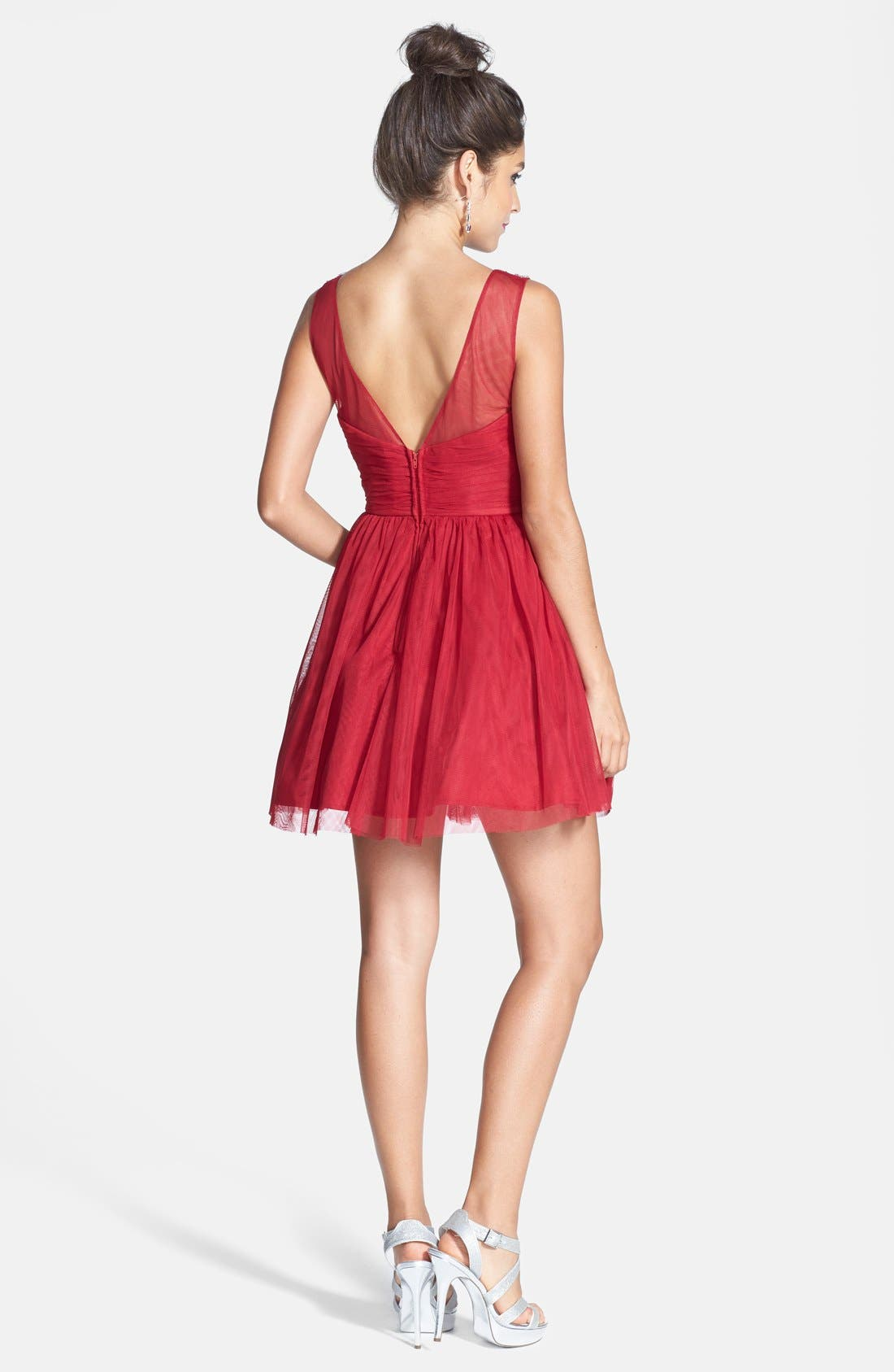 Alternate Image 2  - Steppin Out Deep V-Back Party Dress (Juniors)