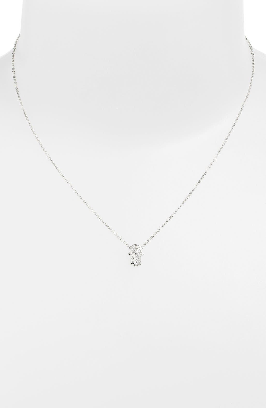 Alternate Image 2  - Sugar Bean Jewelry Pavé Hamsa Pendant Necklace