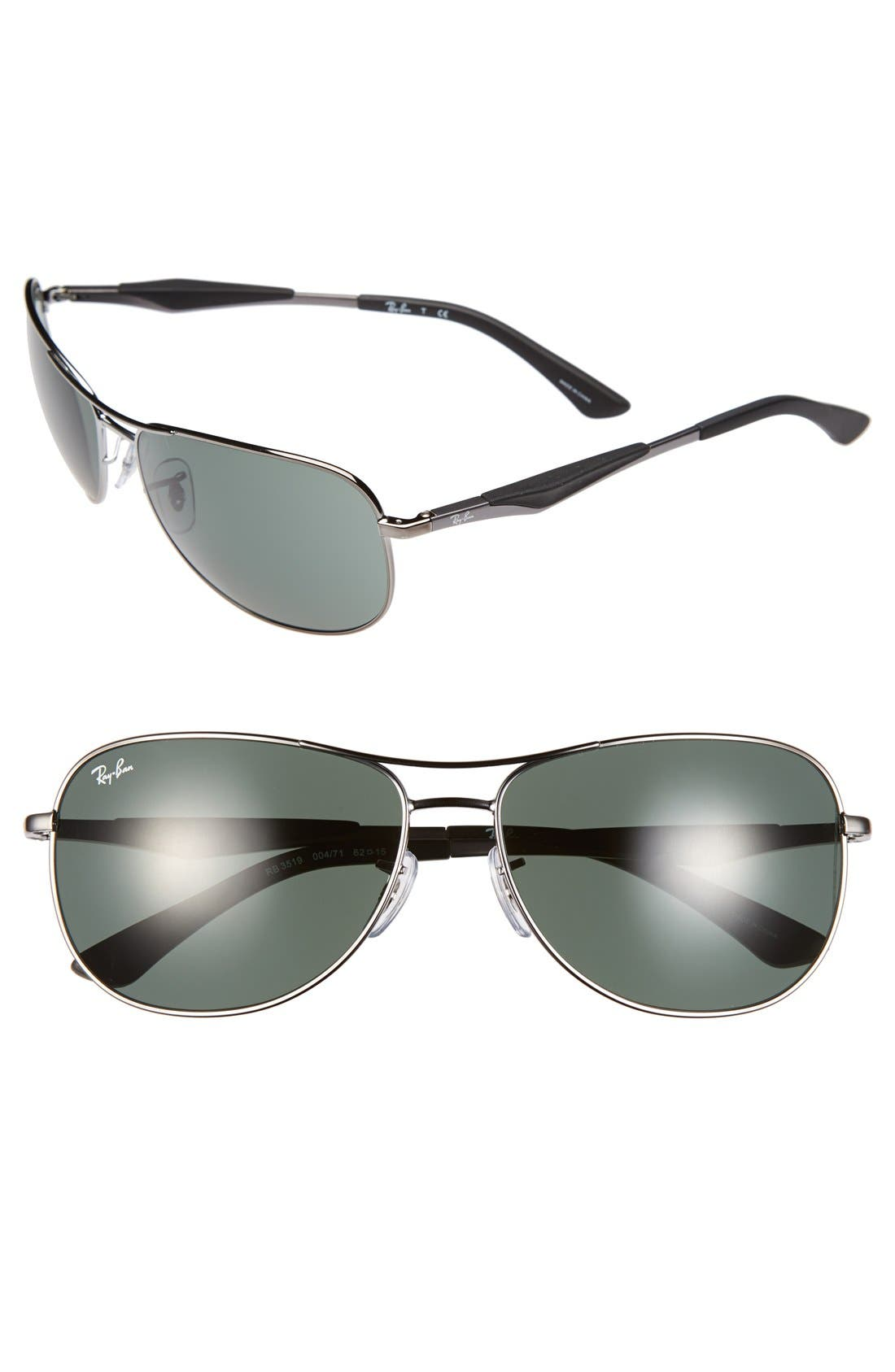 Main Image - Ray-Ban 62mm Steel Aviator Sunglasses