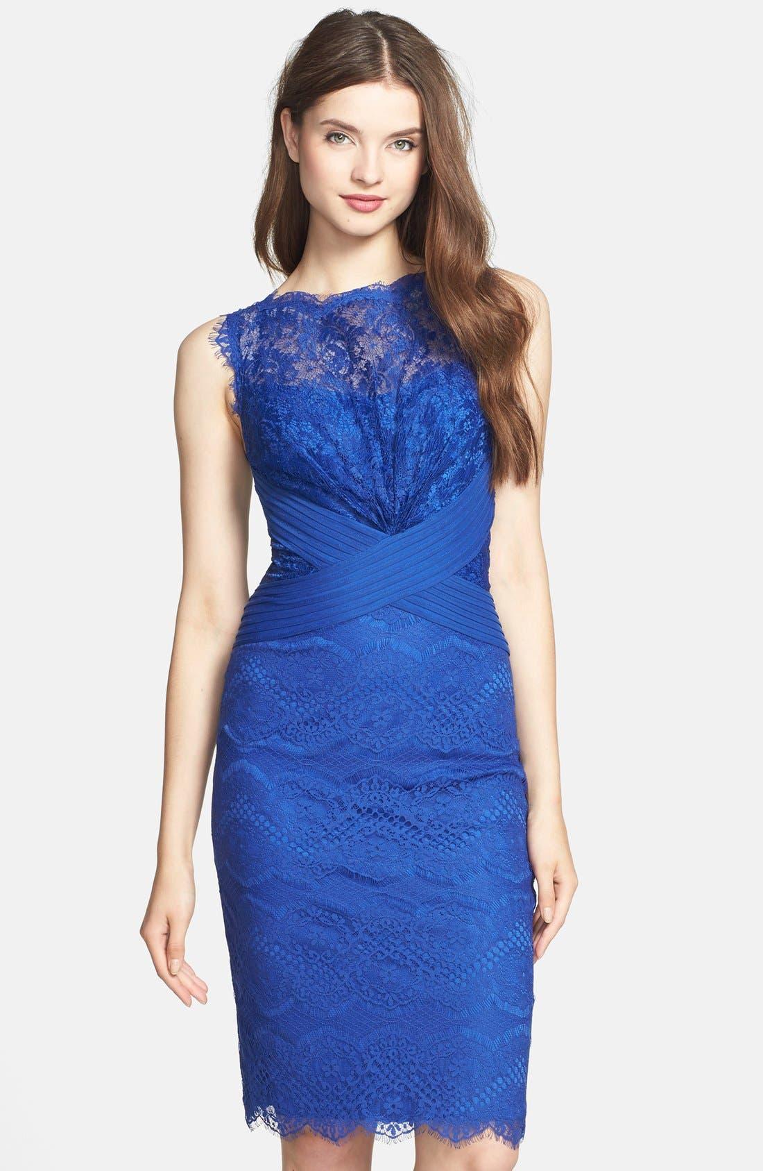 Alternate Image 1  - Tadashi Shoji Lace Sheath Dress (Regular & Petite)