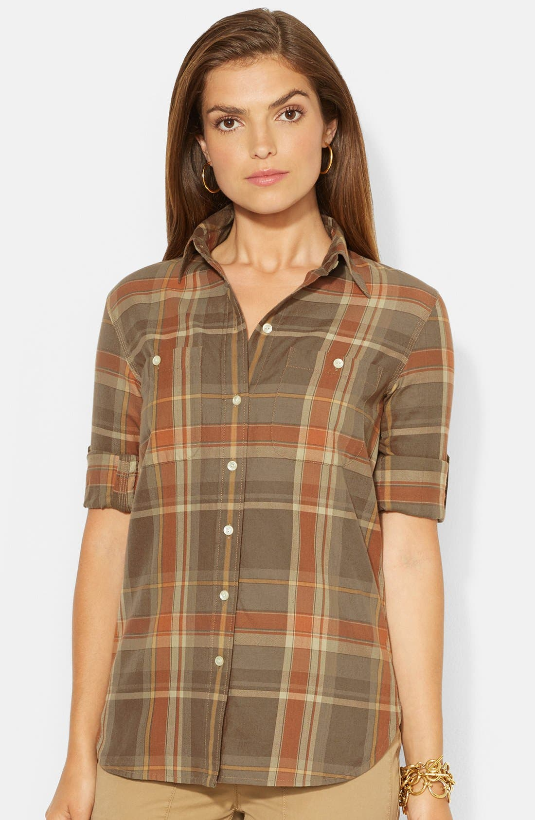 Alternate Image 1 Selected - Lauren Ralph Lauren Plaid Roll Sleeve Work Shirt (Regular & Petite)