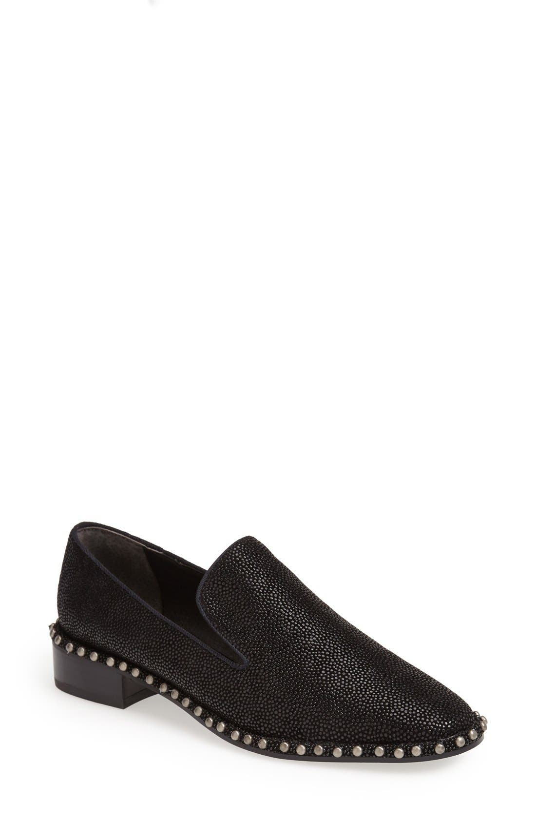 ADRIANNA PAPELL 'Prince' Studded Smoking Slipper Flat