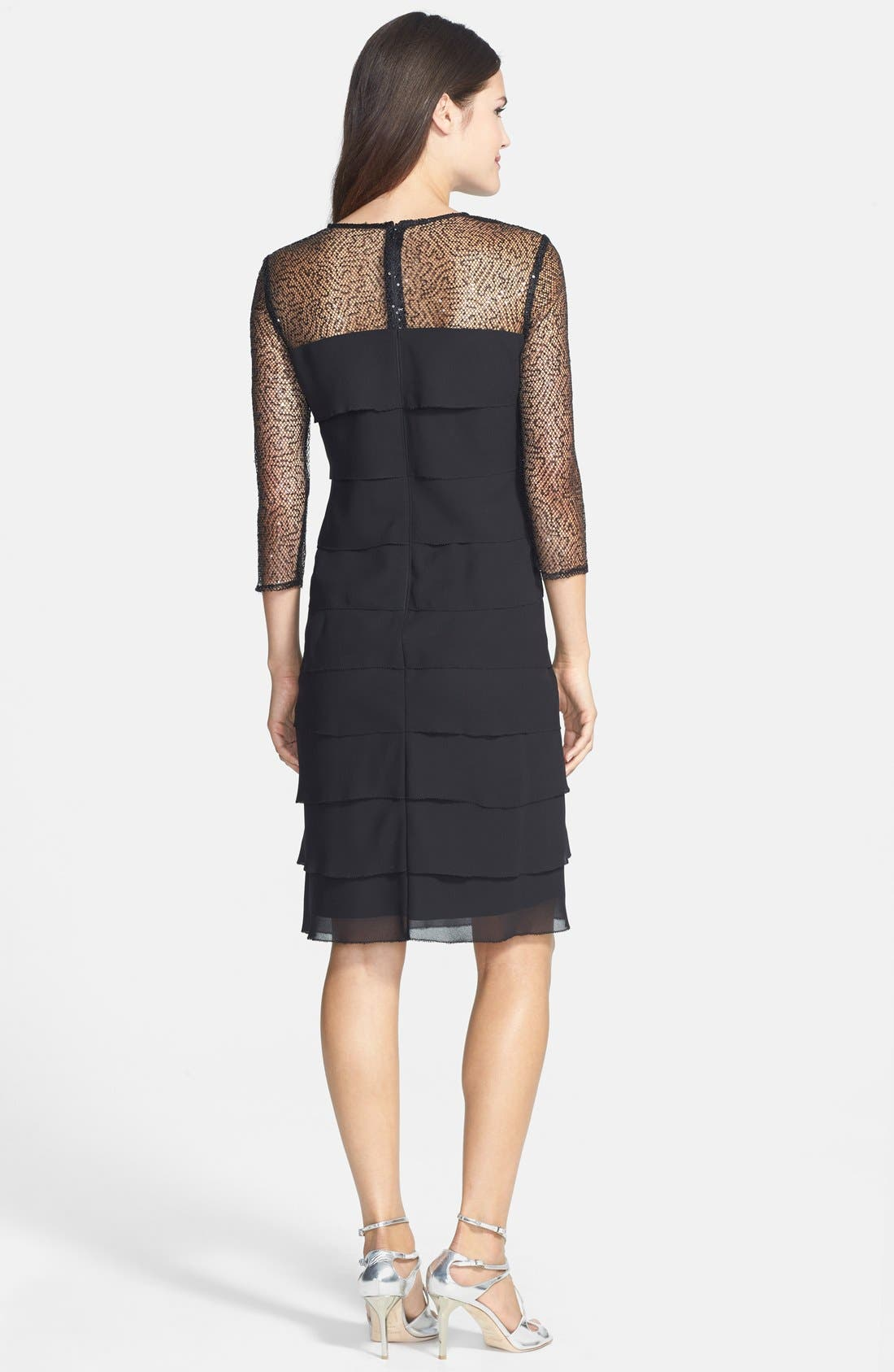 Alternate Image 2  - Alex Evenings Sequin Mesh Yoke Tiered Shift Dress