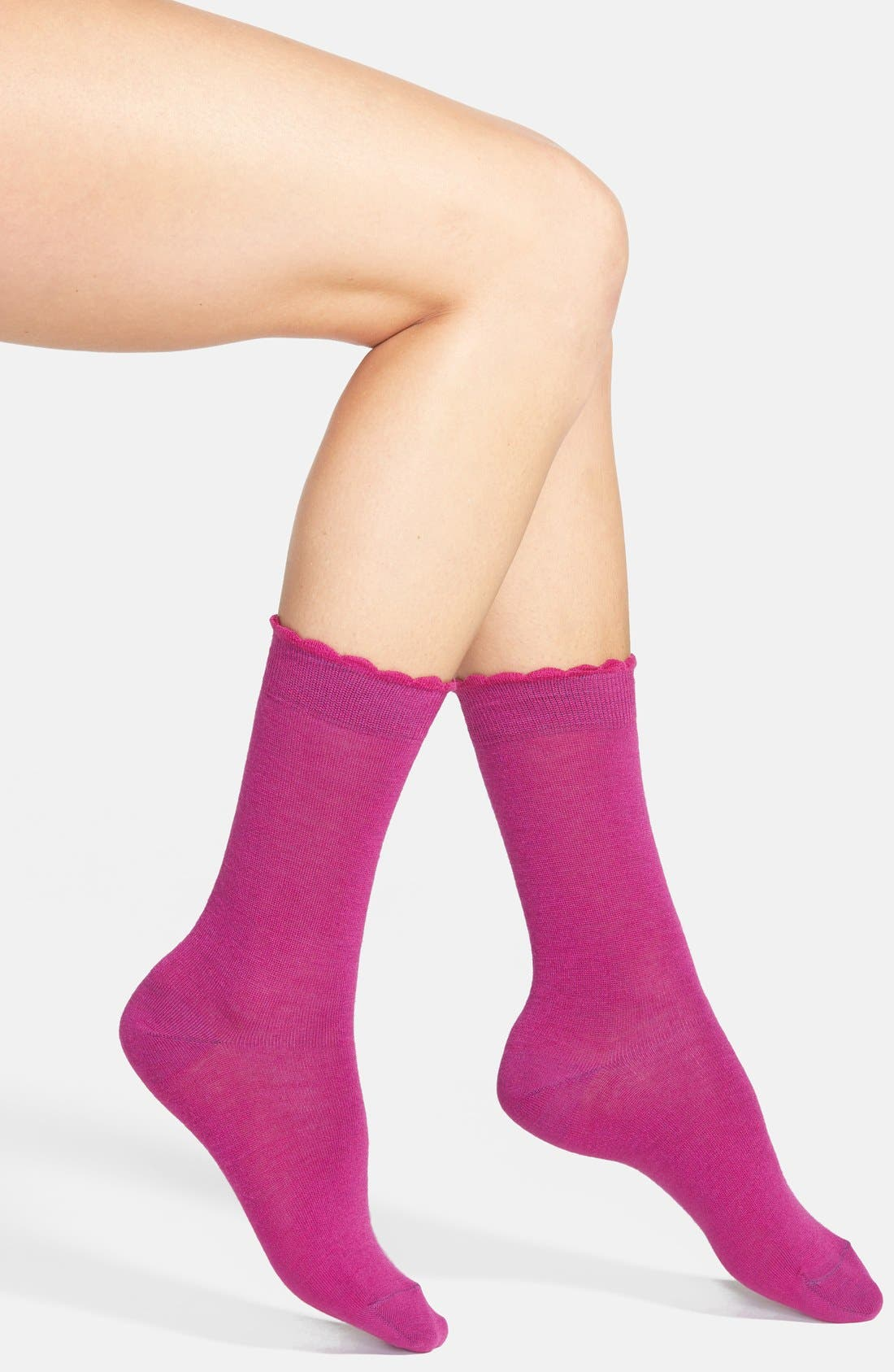 Alternate Image 1 Selected - Nordstrom Flat Knit Merino Wool Crew Socks