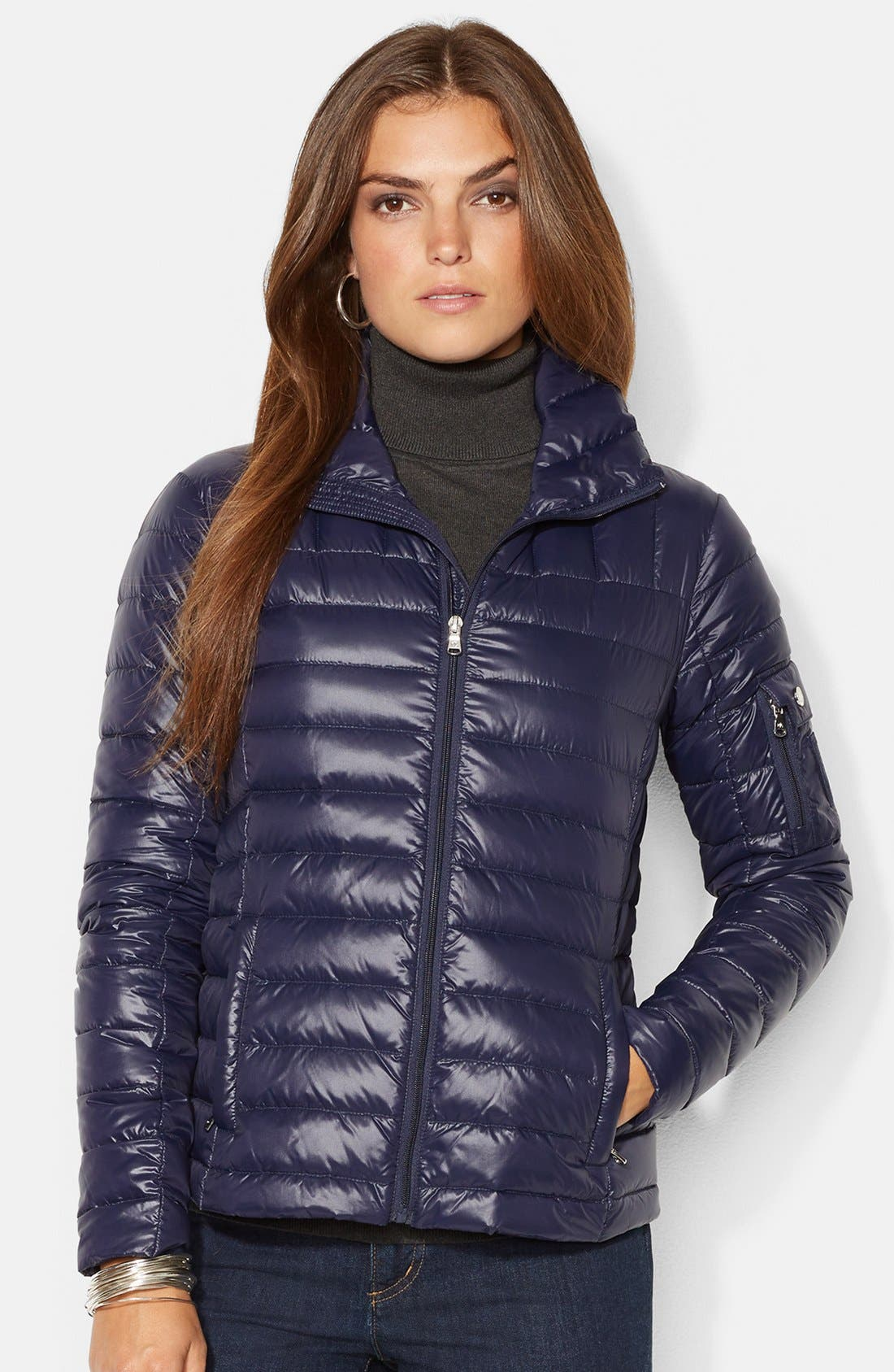 Alternate Image 1 Selected - Lauren Ralph Lauren Shirttail Packable Down Jacket (Online Only)