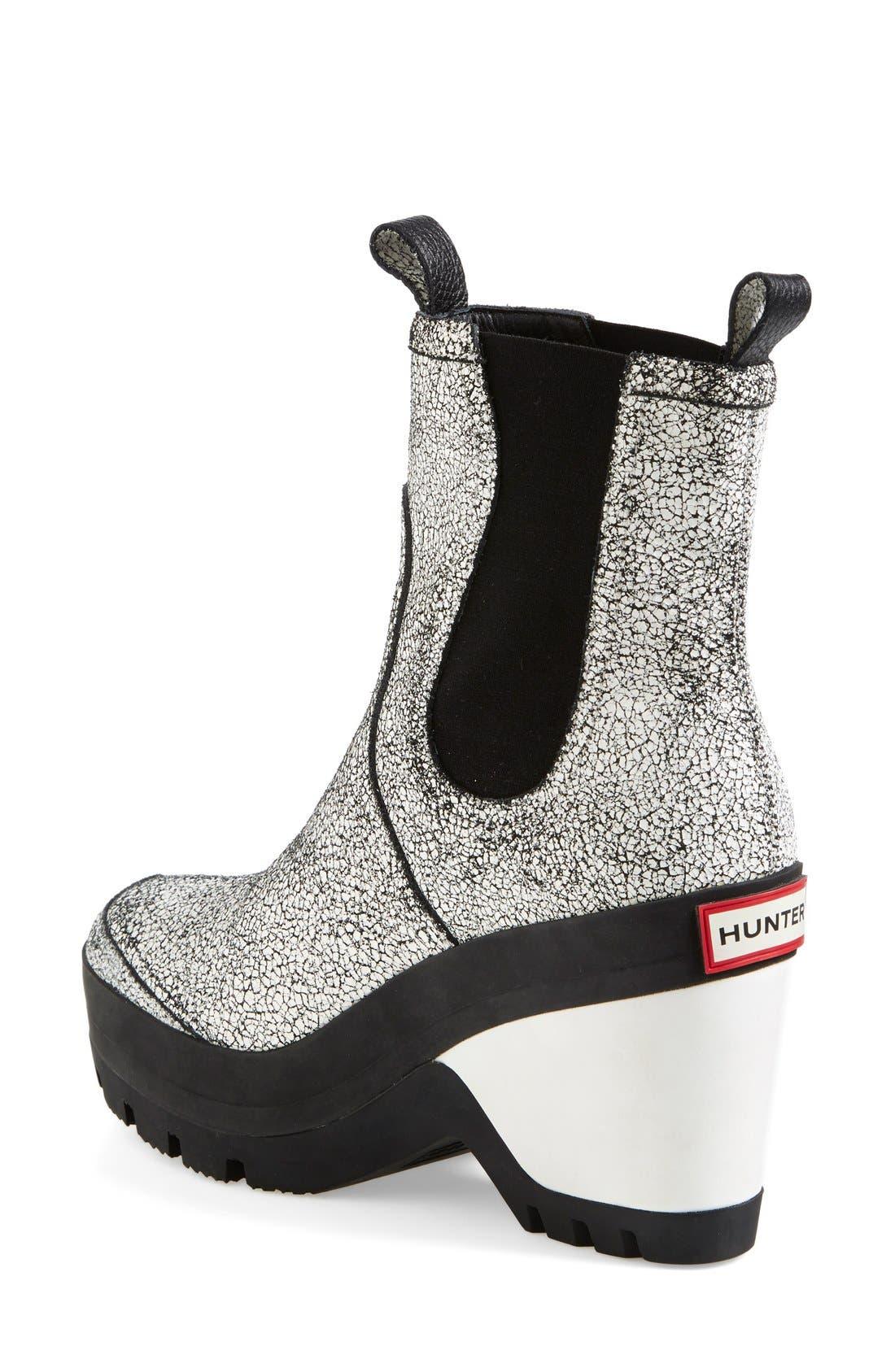 Alternate Image 2  - Hunter Crackled Leather Chelsea Rain Boot (Women)