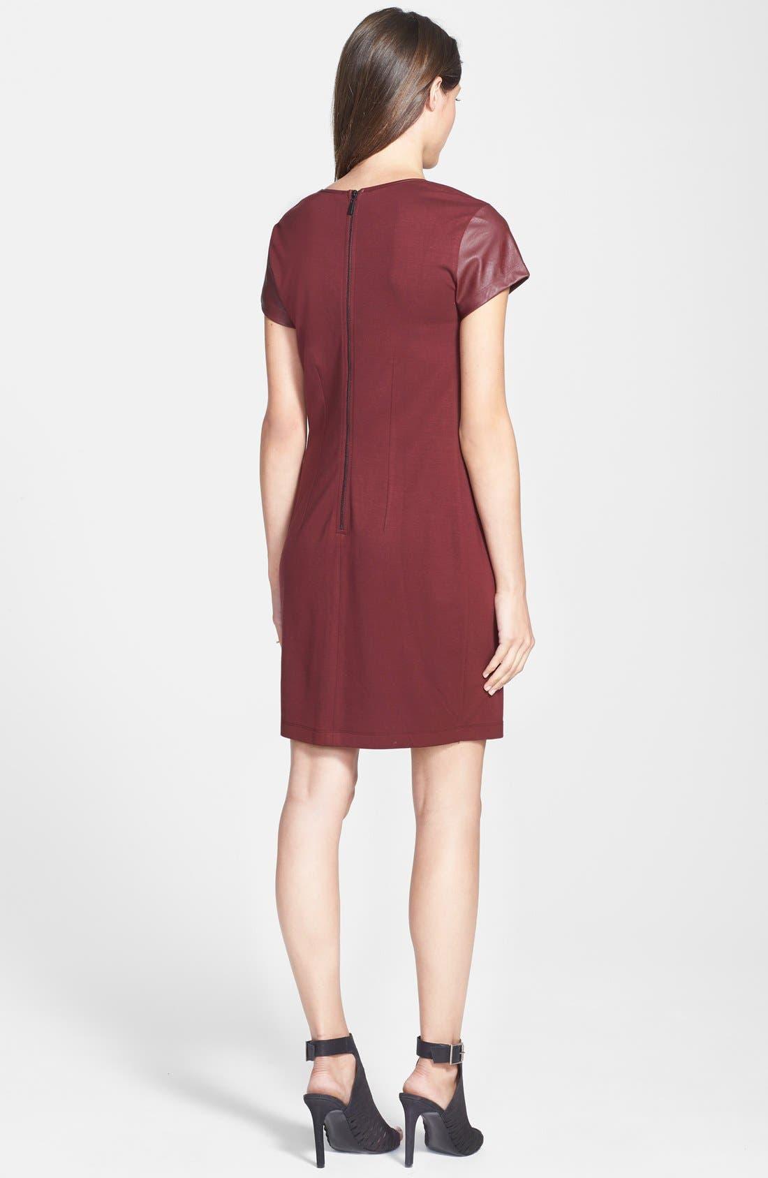 Alternate Image 2  - Tart Maternity 'Braidy' Faux Leather Sleeve Maternity Dress