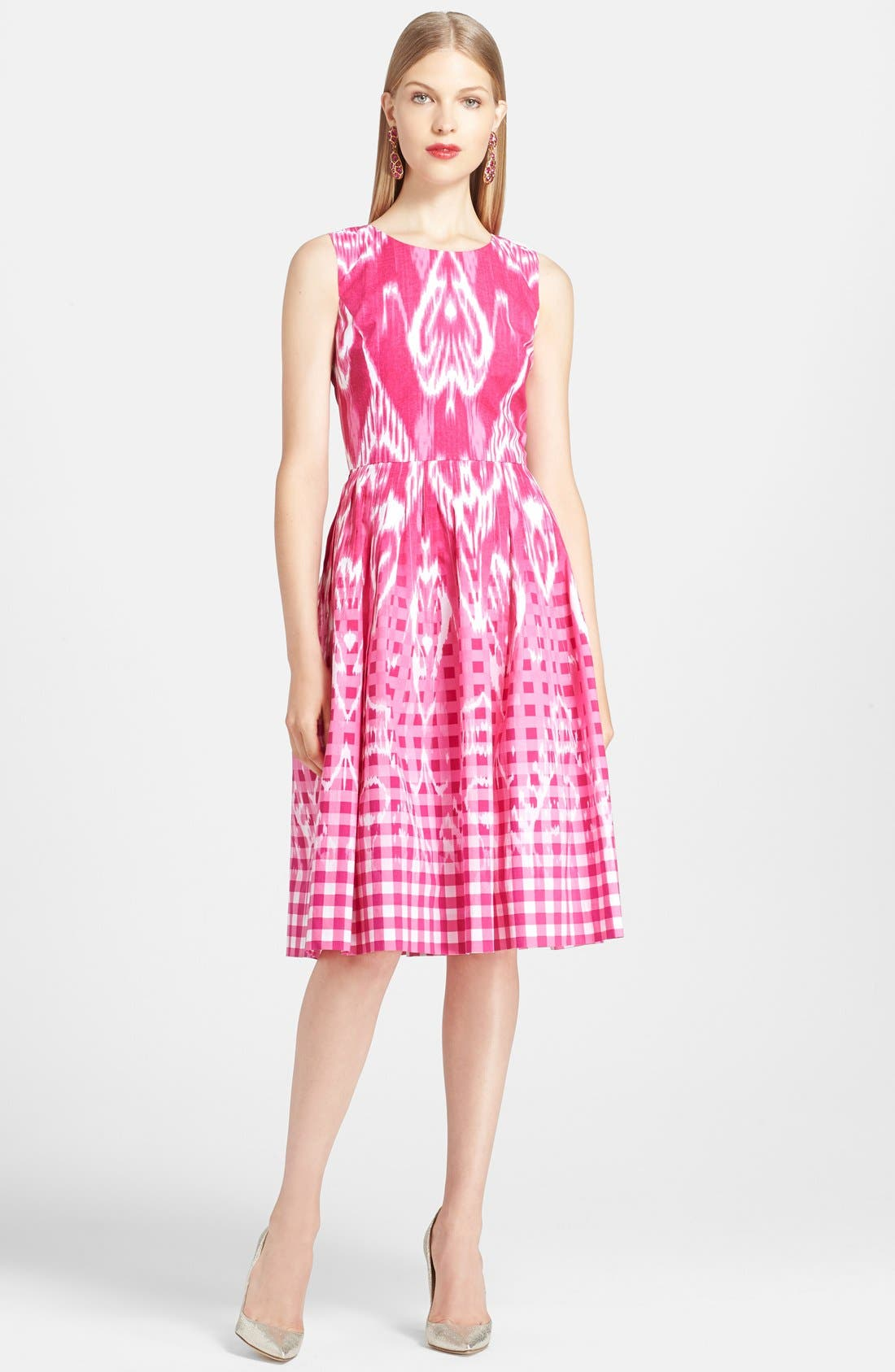 Alternate Image 1 Selected - Oscar de la Renta Ikat Print Poplin Dress