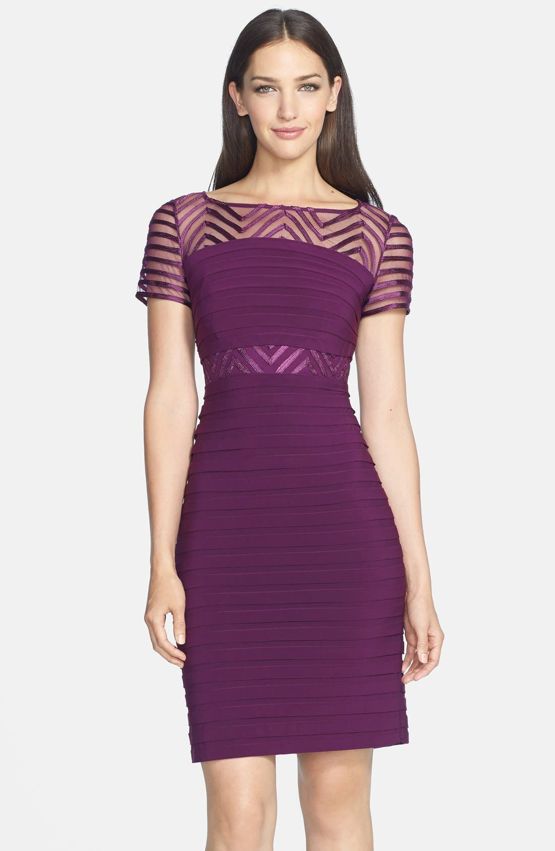 Alternate Image 1 Selected - Adrianna Papell Illusion Yoke Jersey Sheath Dress (Regular & Petite)